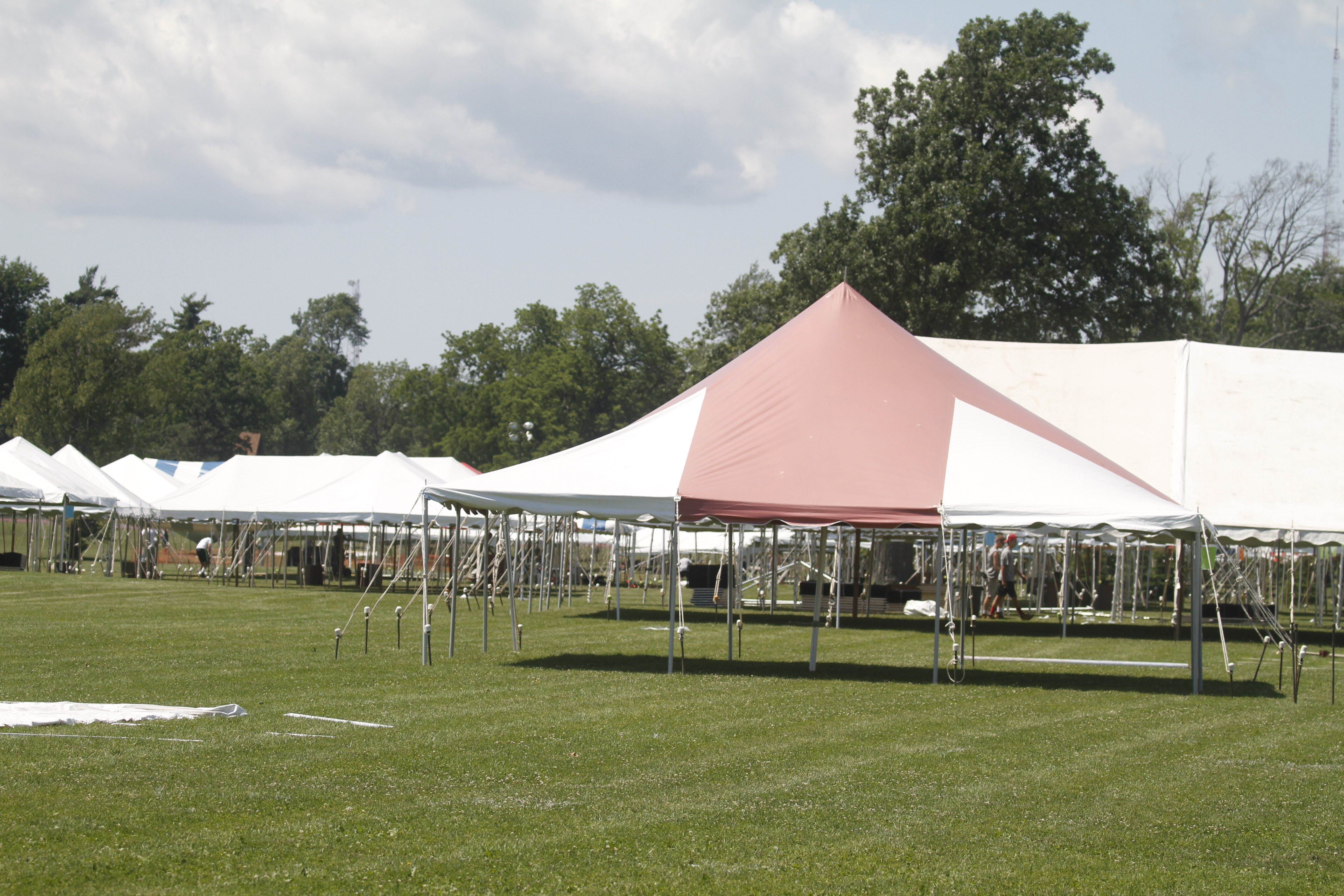 Tents went up Wednesday for the Corporate Challenge Thursdayat  Delaware Park. (John Hickey/Buffalo News)