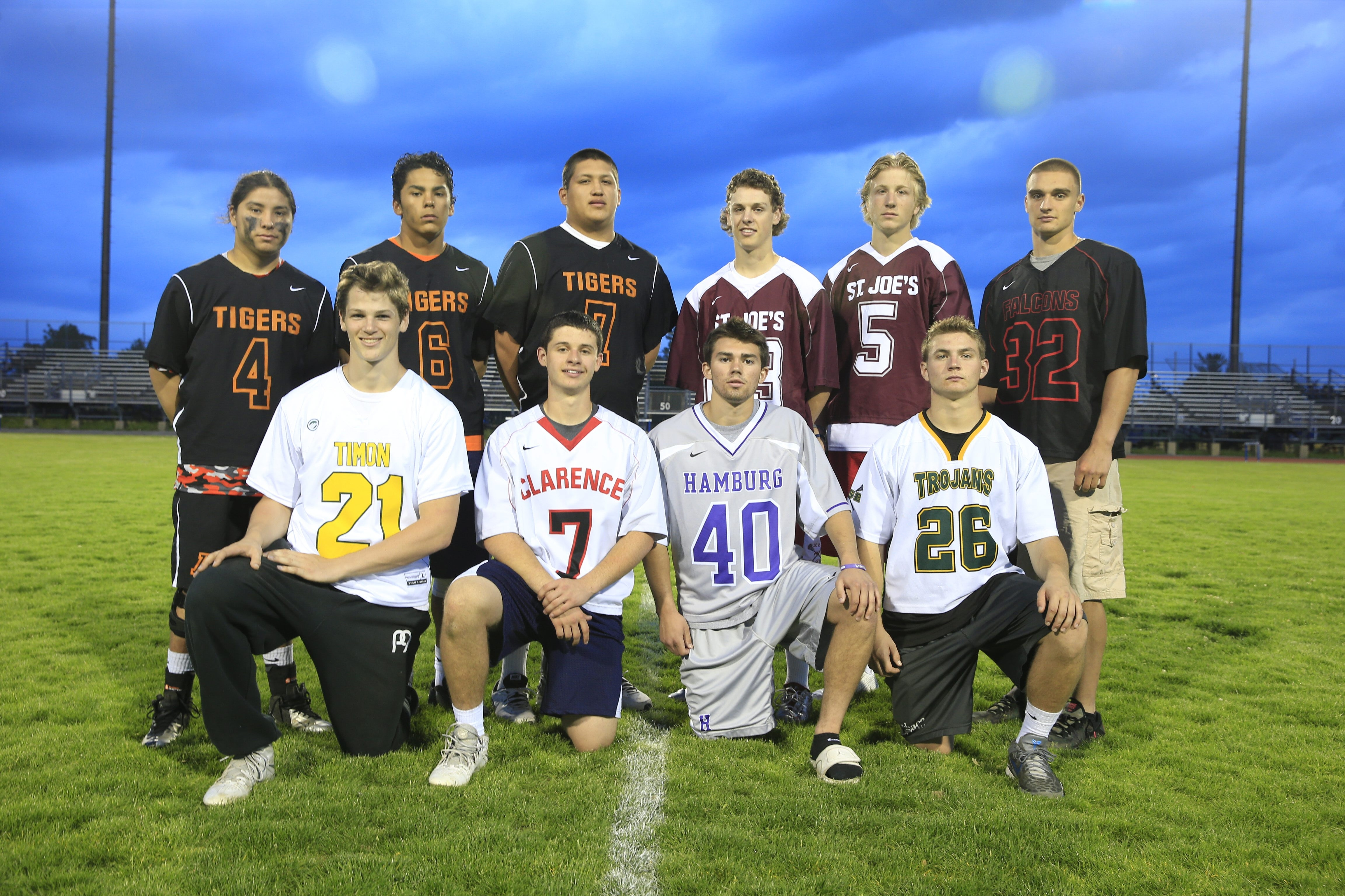 Harry Scull Jr./Buffalo NewsThe All-Western New York boys lacrosse team. Front row, from left: Tristan Dougherty (Bishop Timon-St. Jude), Josh Slowinski (Clarence), Evan Hollfelder (Hamburg) and Tyler Skretny (West Seneca East). Back row: Chaunce Hill (Akron), Larson Sundown (Akron), Gates Abrams (Akron), Myles Young (St. Joe's), Peter Masters (St. Joe's) and James Stenzel  (Niagara Wheatfield). Pictured below are Kevin McParlane (Orchard Park), Jack Seminara (Canisius), Kevin Goltz (Orchard Park) and John Ennis (Nichols).