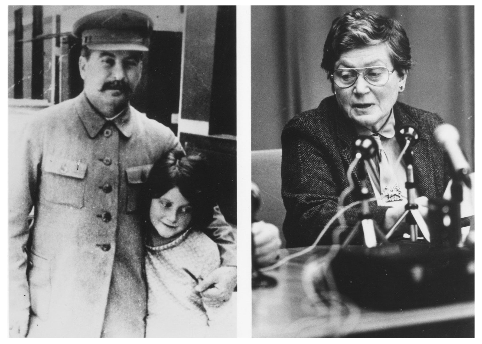 Soviet dictator Joseph Stalin with Svetlana at age 7, a year after her mother committed suicide. At right, Svetlana Alliluyeva discussed her notorious father in a rare interview.