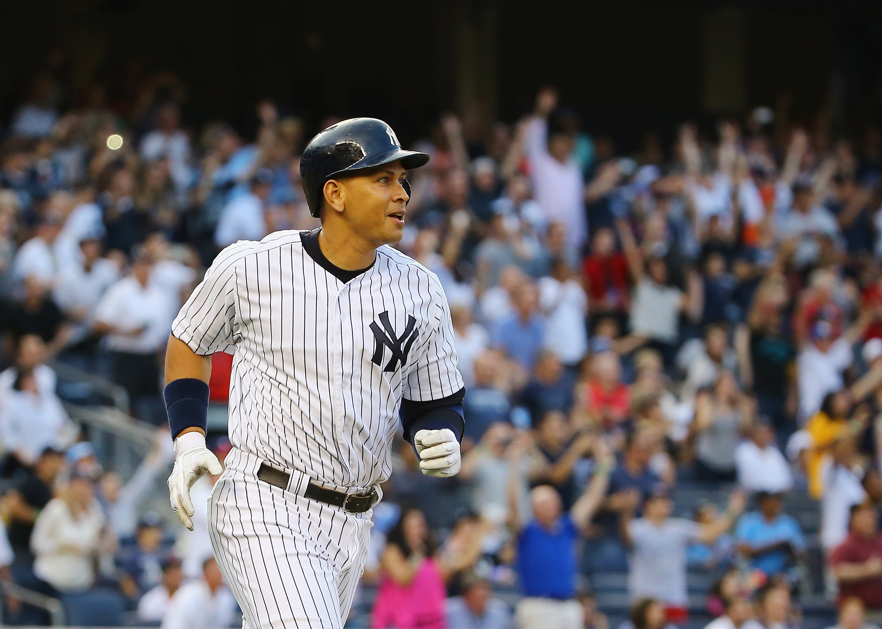 Alex Rodriguez of the Yankees didn't have to run hard after getting his 3,000th hit. It was just a matter of using his home trot as he went deep on Justin Verlander of the Tigers Friday night.