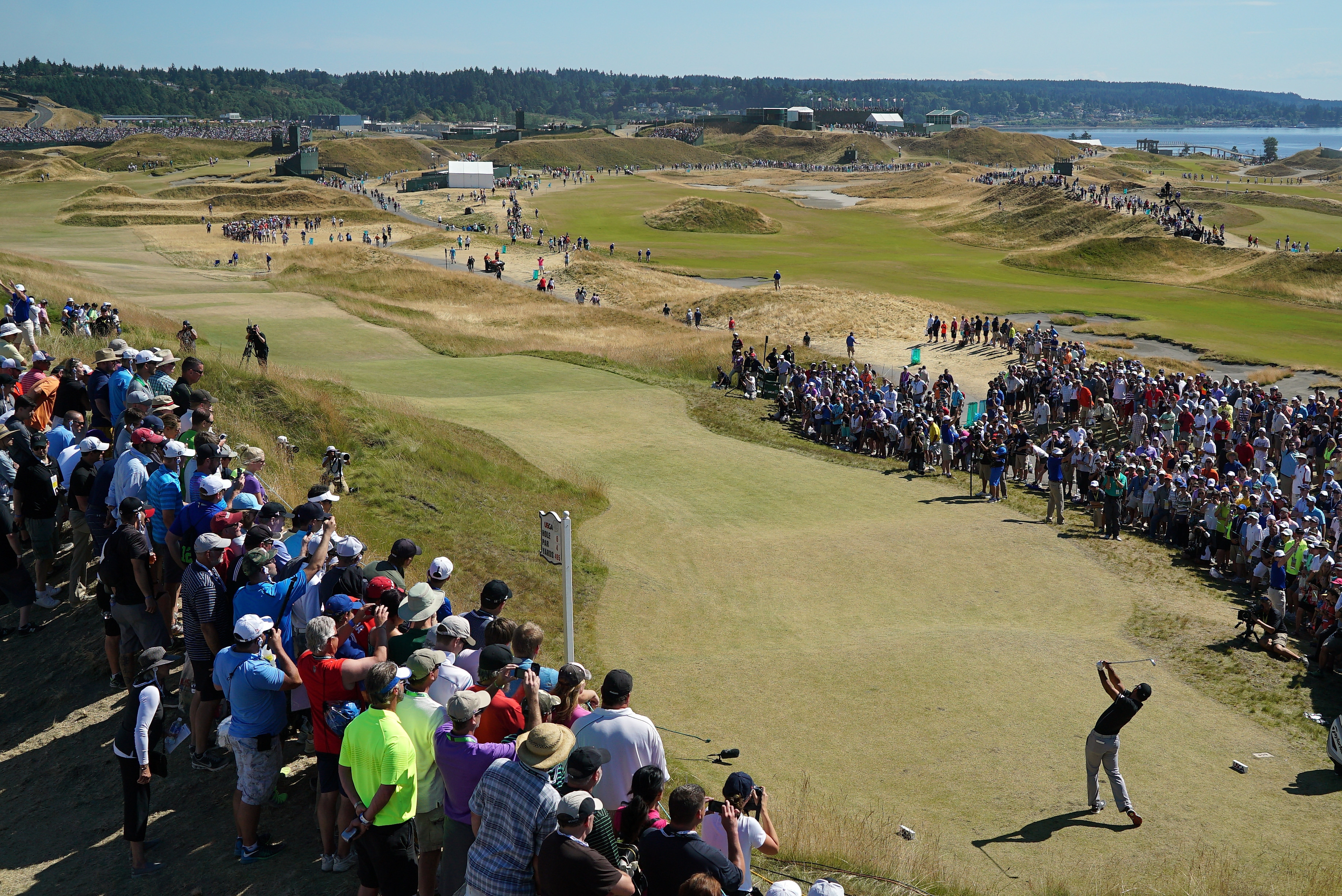 Jason Day of Australia hits his tee shot on the sixth hole during Sunday's final round of the U.S. Open.
