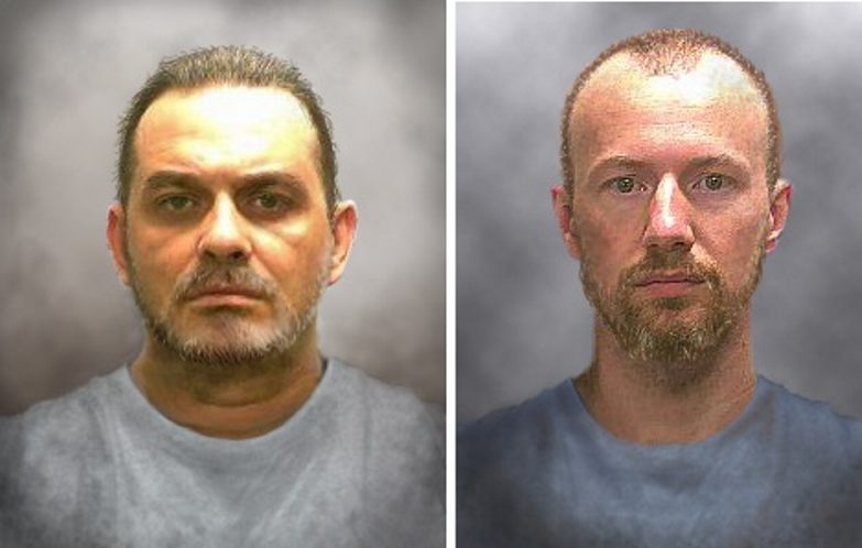 State police provided these images of escaped prisoners Richard Matt, left, and David Sweat, as they might look 10 days after escape.