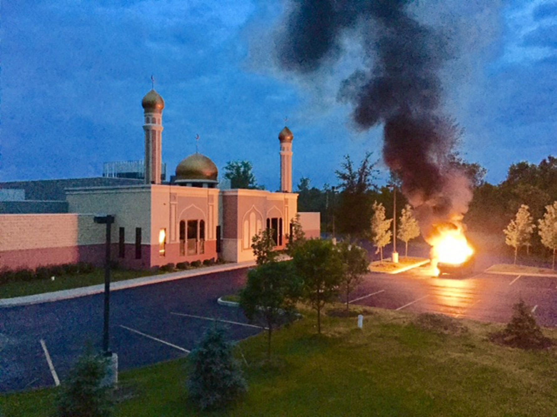 """Car fire early Sunday at Jaffarya Islamic Center, 10300 Transit Road, """"scared the people on our end,"""" says chairman of Muslim Public Affairs Council. """"They're scared what else might happen."""""""