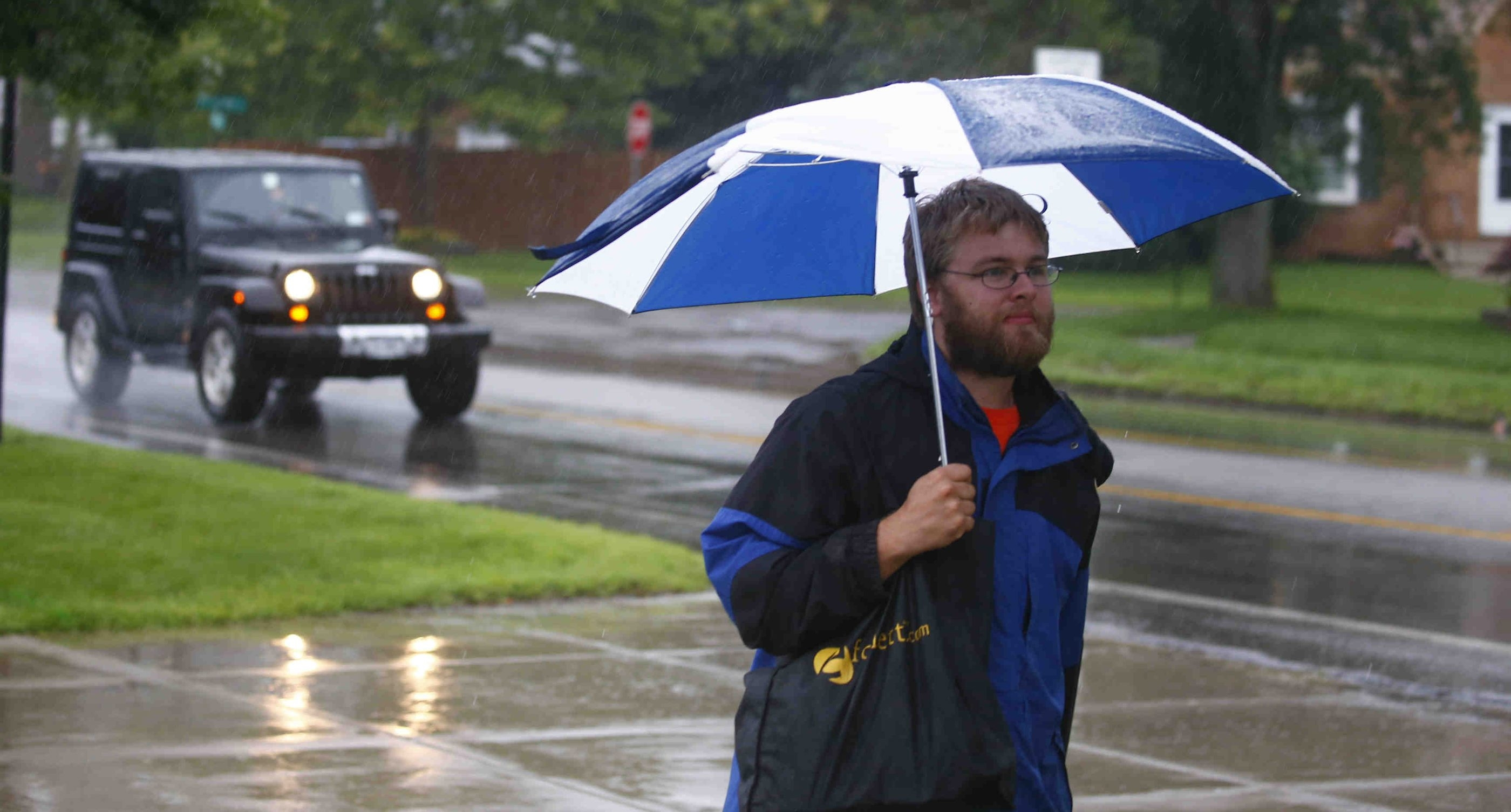 William MacKay walks to work on Kensington Avenue in Cheektowaga , N.Y., on Tuesday, June 16, 2015 . (John Hickey/Buffalo News)