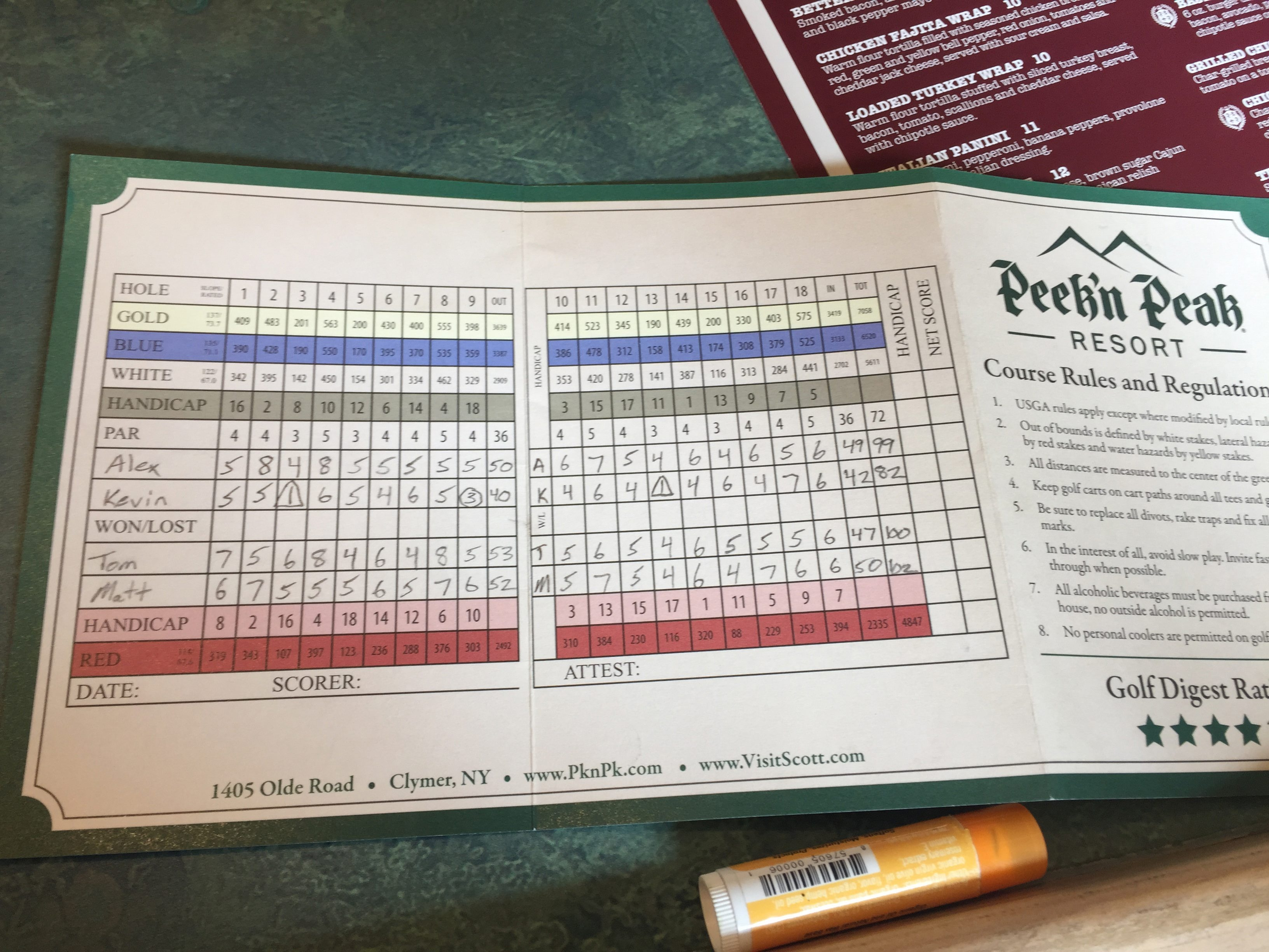 "Kevin Ciminelli's scorecard from playing at Peek'n Peak is one that should be framed. It's not often that ""1"" is written as a score twice in the same round."