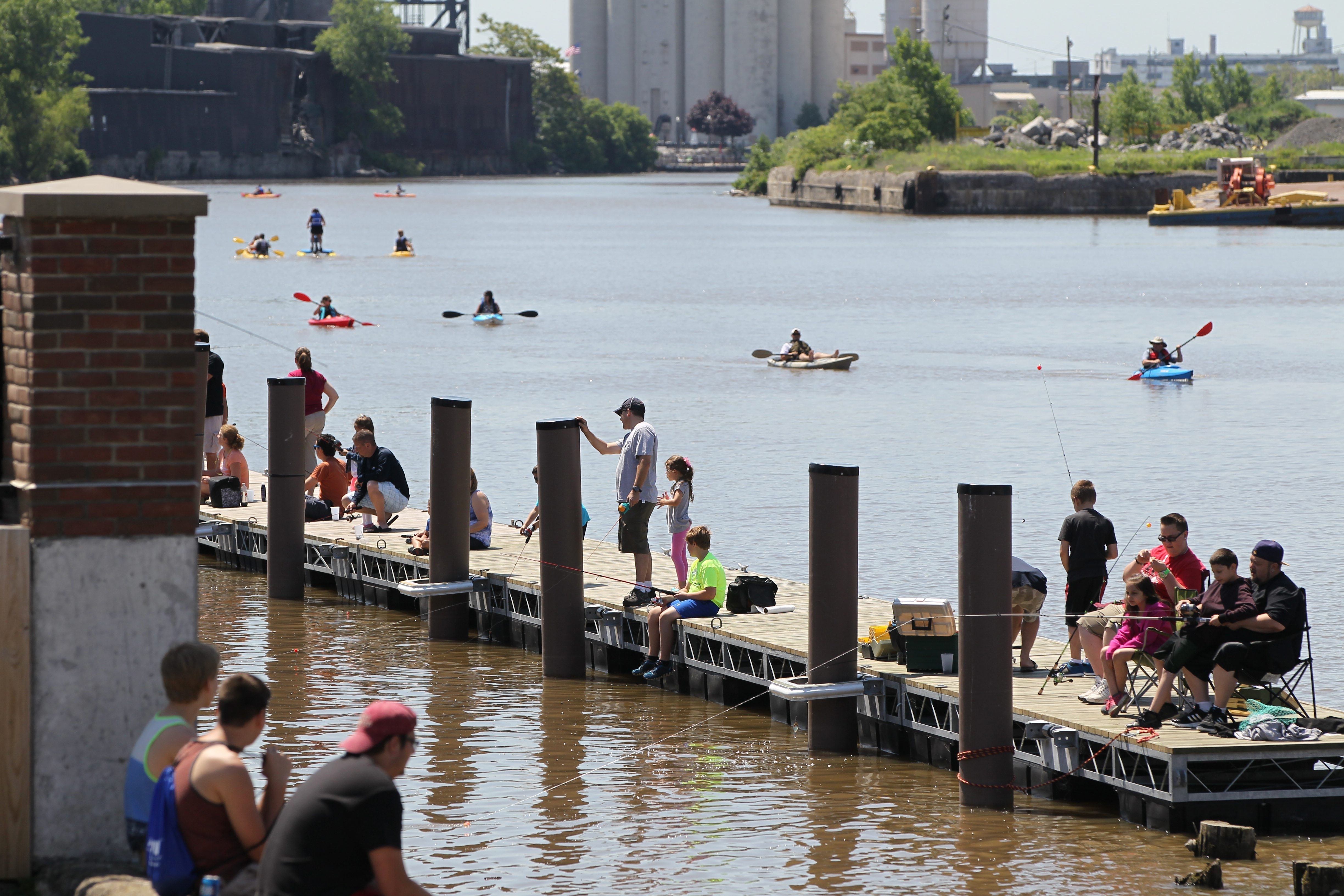 The Valley Community Center offered a free fishing derby at the Buffalo River Fest Park, 249 Ohio st.  in Buffalo,NY on Sunday, June 15, 2014.  (James P. McCoy/ Buffalo News) ¬