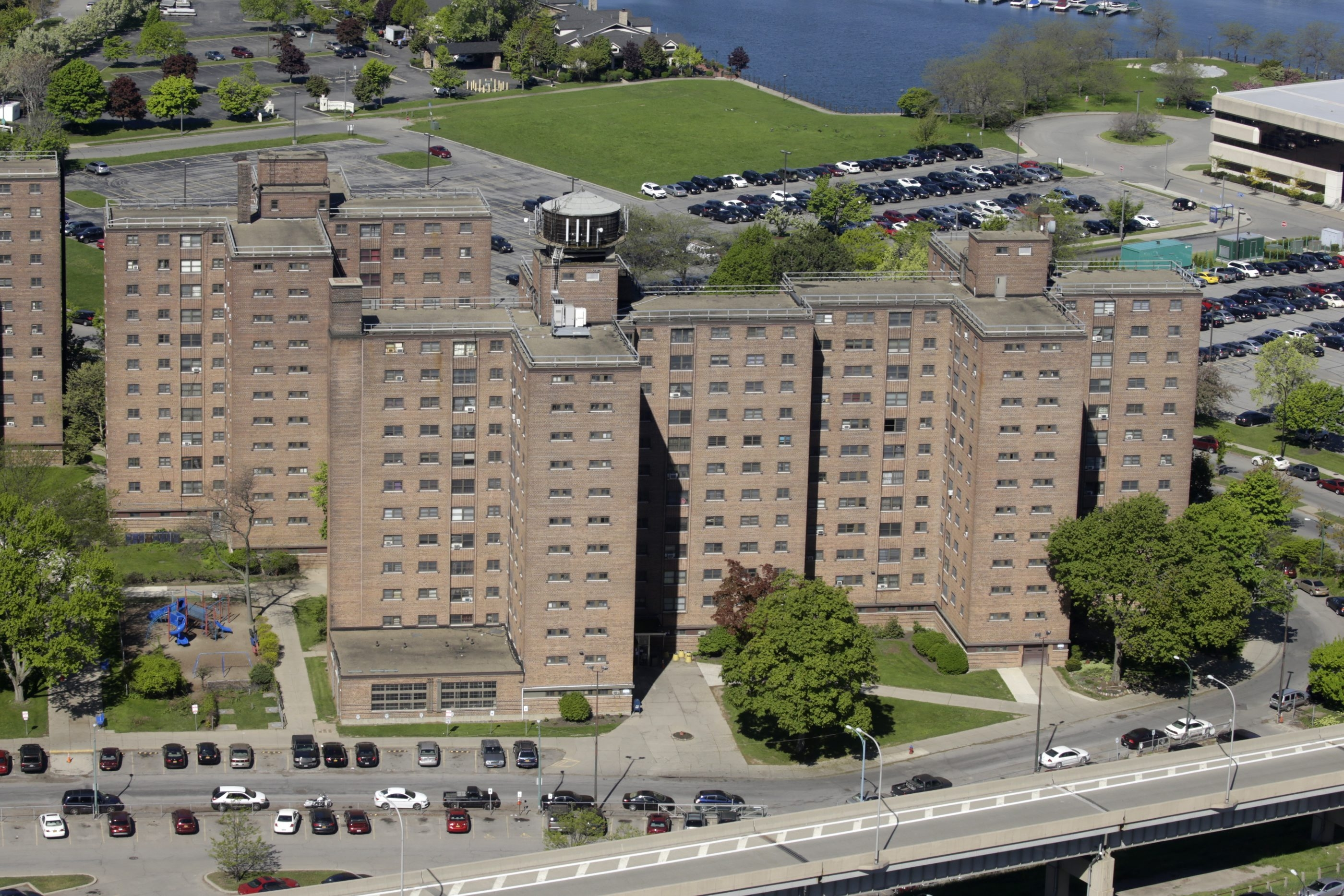 The Marine Drive Apartments, photographed from the 29th floor of the Seneca One tower.  Millions of dollars would be needed to renovate the deteriorating complex. (John Hickey/Buffalo News)