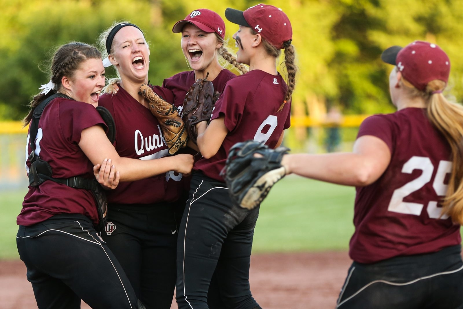 Orchard Park players celebrate the school's first state crown in softball while Starpoint and Alden failed to advance in Class A and Class B, respectively.