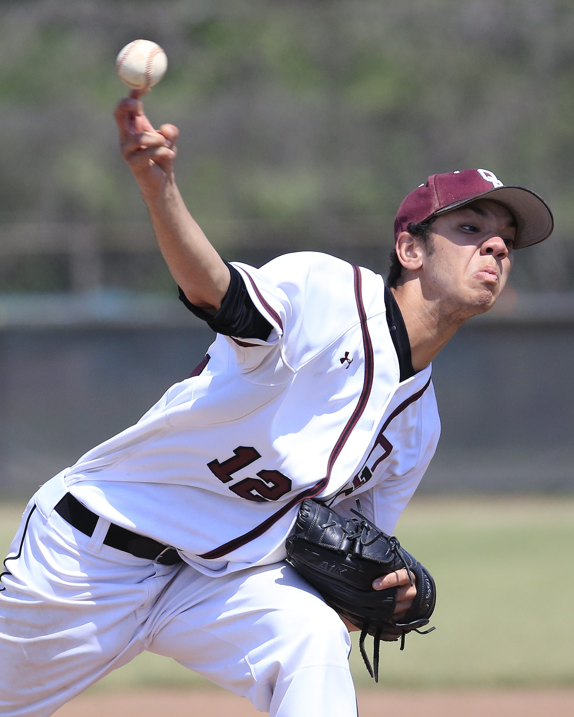 Orchard Park's Jacob Lewis pitches in relief against Niagara Falls during Section VI Class AA finals at Lewiston Porter high school  on Saturday, May 30, 2015..(Harry Scull Jr./Buffalo News)