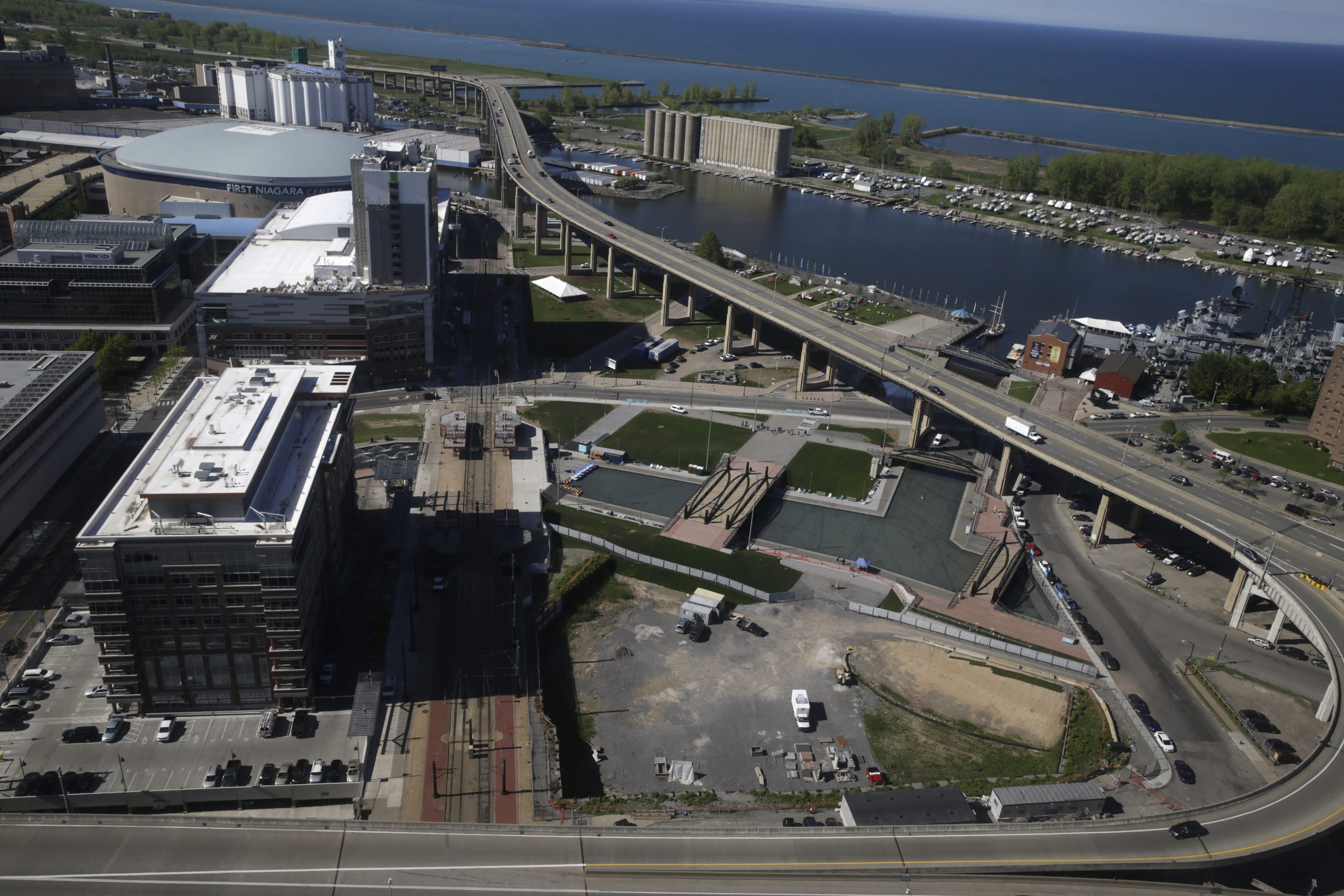 Erie Canal Harbor Development originally had called for developers to submit concepts for a 100,000-square-foot mixed-use complex, to be located on the parcel bounded by Main Street, Marine Drive and the historically aligned canals. (John Hickey/Buffalo News)