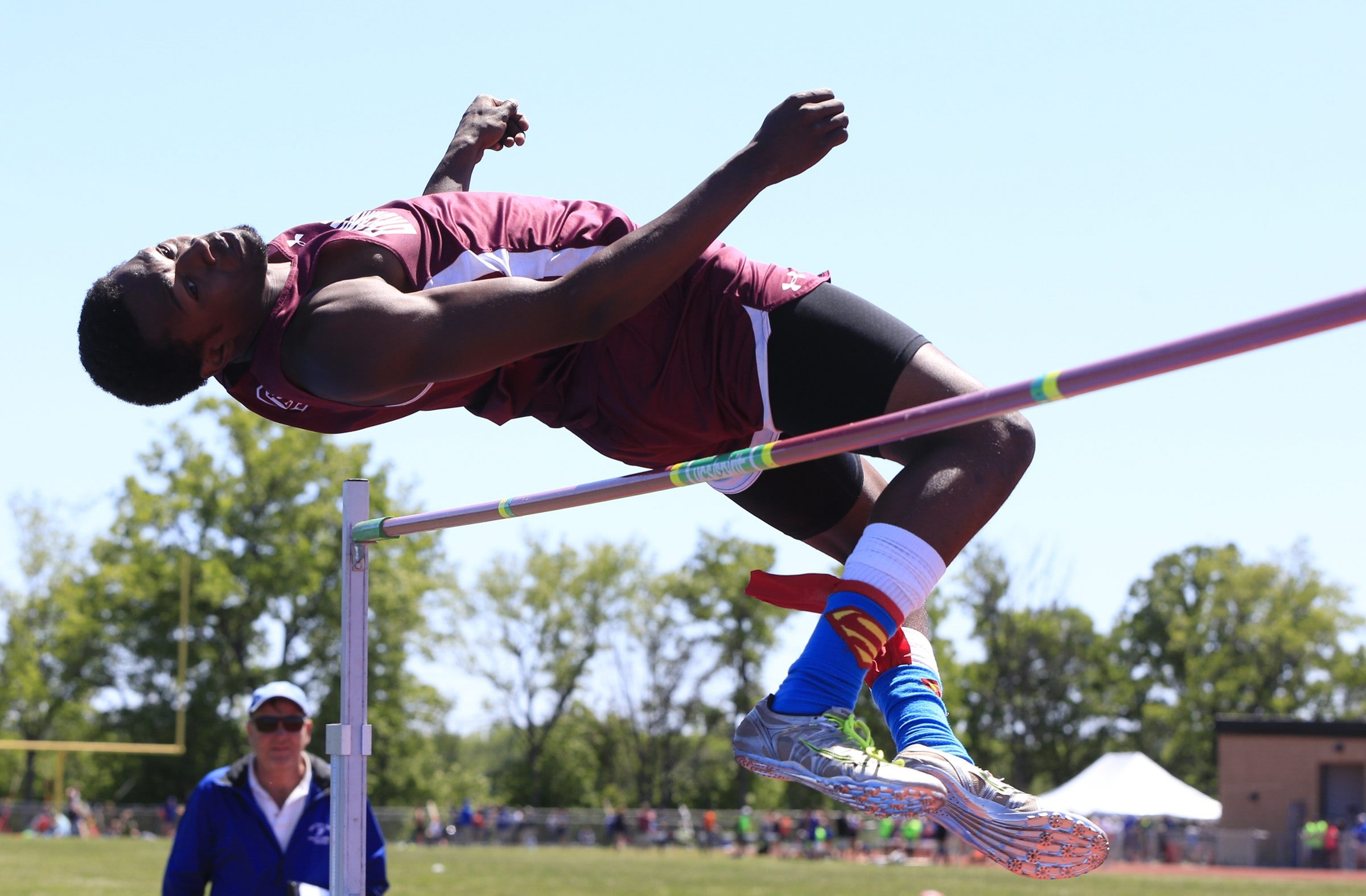 Terius Wheatley from Orchard Park captures the high jump title at the Section VI Outdoor Track & Field Championship.