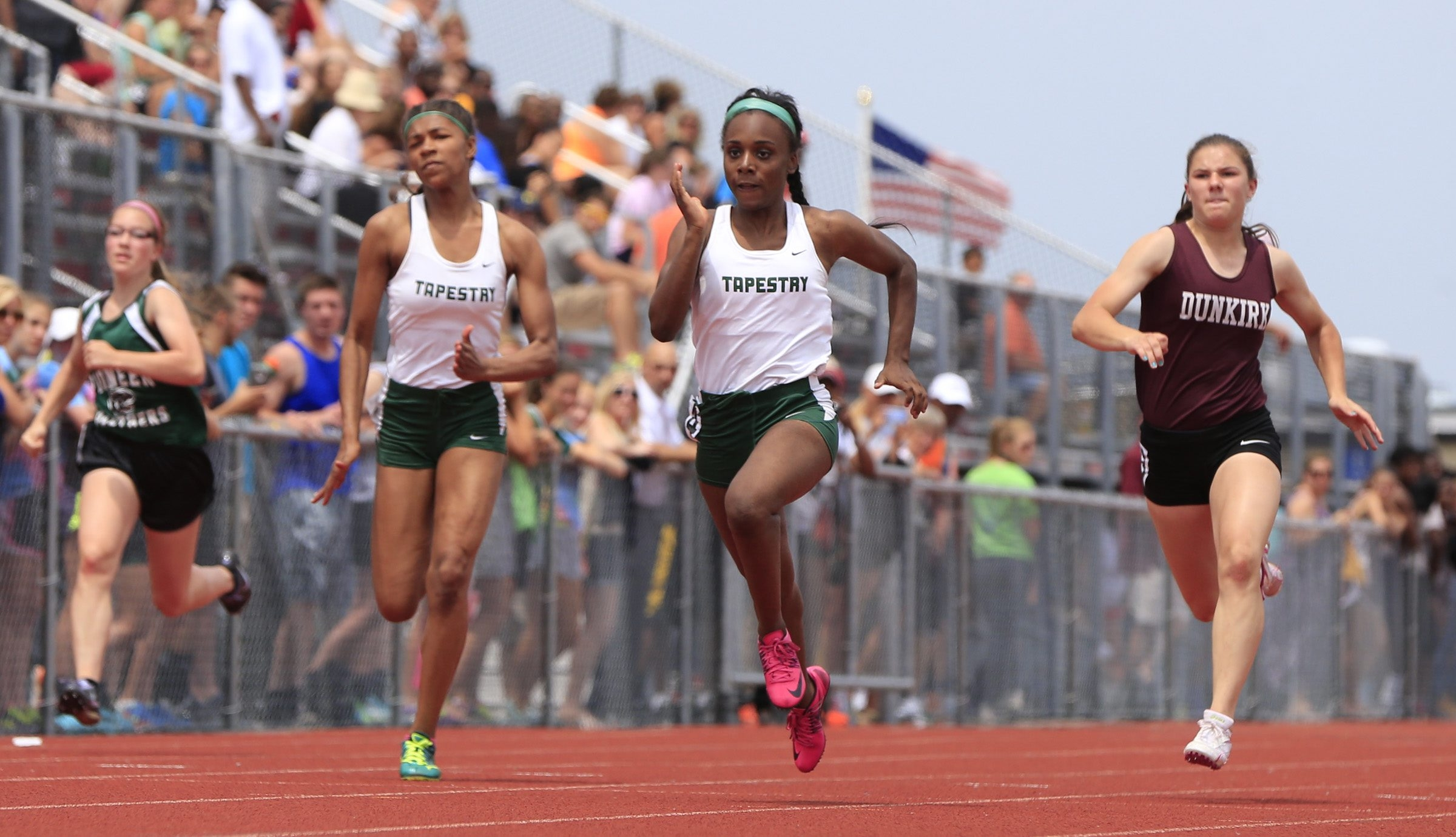 Taylor Alston from Tapestry wins the first heat of the 100-meter dash at the Section VI championships at Niagara-Wheatfield High School Friday.