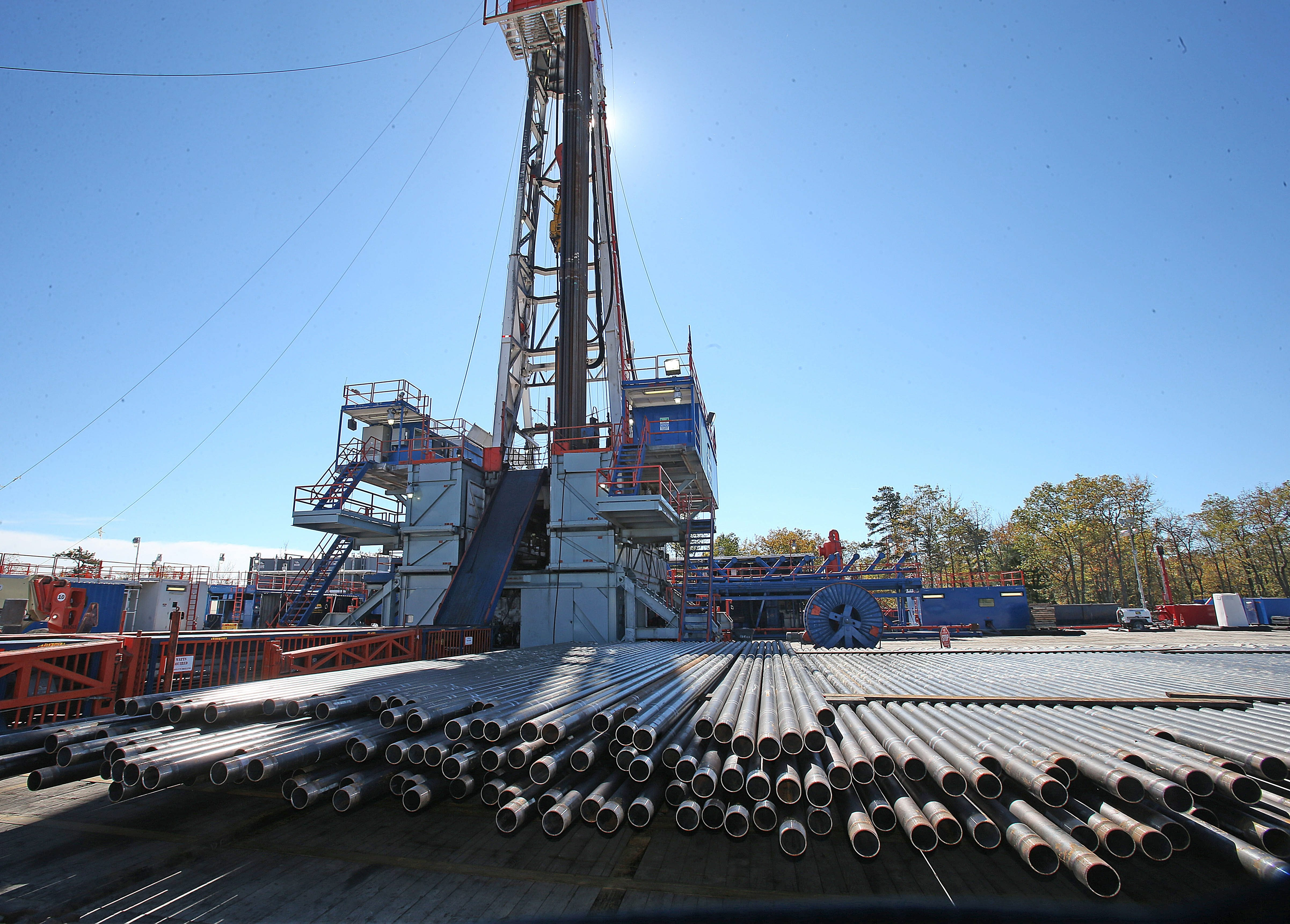 If fracking becomes legal in New York, sights like this rig in Trout Run, Pa., could become commonplace.  (Robert Kirkham/News file photo)