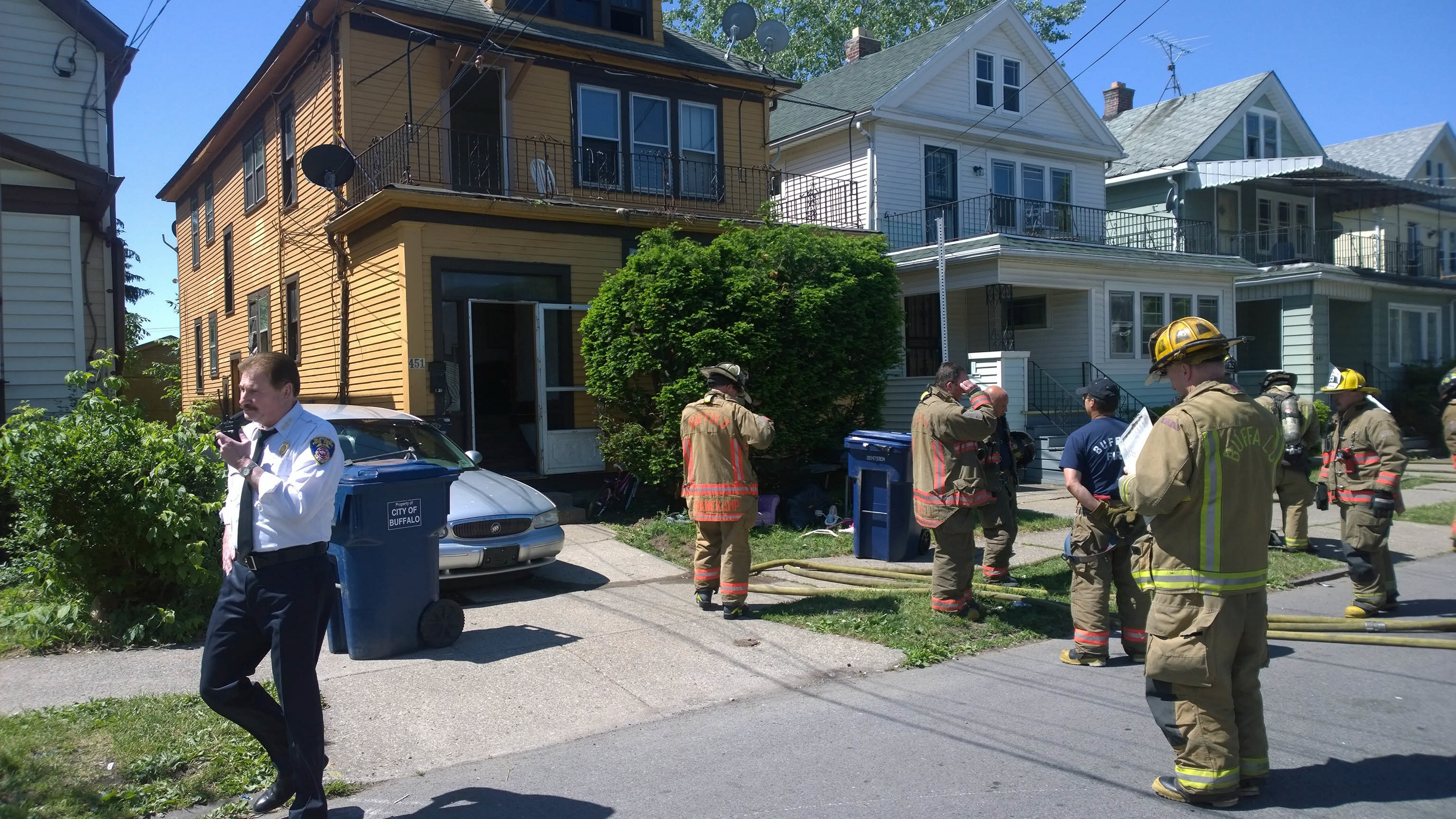Firefighters at the scene of Wednesday morning's fire at 451 Lisbon Ave. (David F. Kazmierczak/Special to The News)