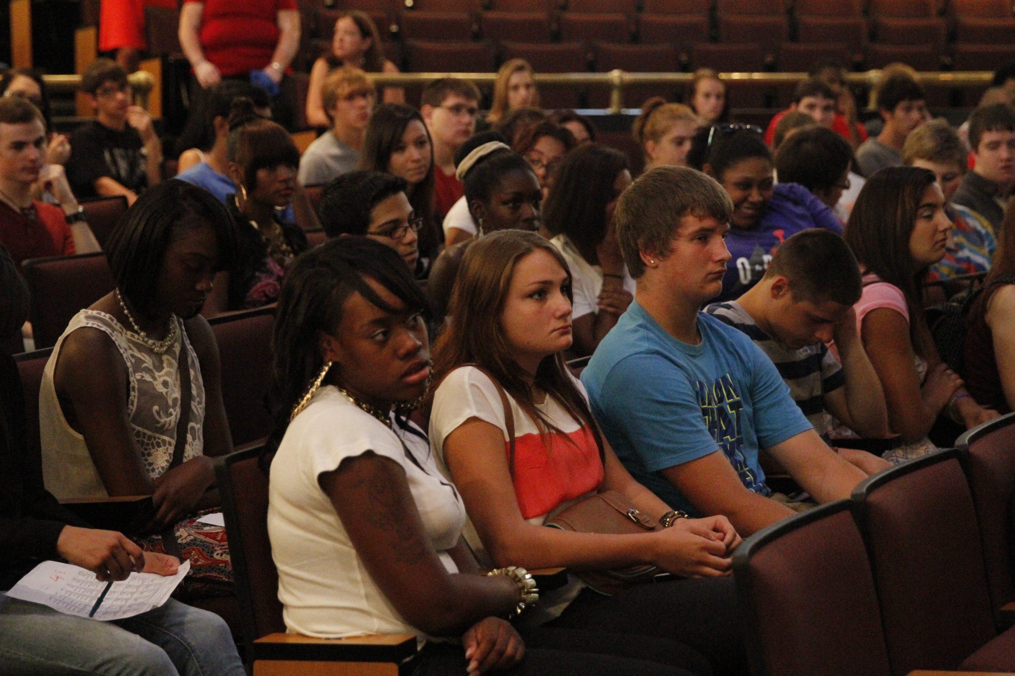 South Park High school seniors in an assembly on the 100th anniversary of  South Park High School  in Buffalo, NY on Thursday, Sept. 4, 2014. (John Hickey/Buffalo News)