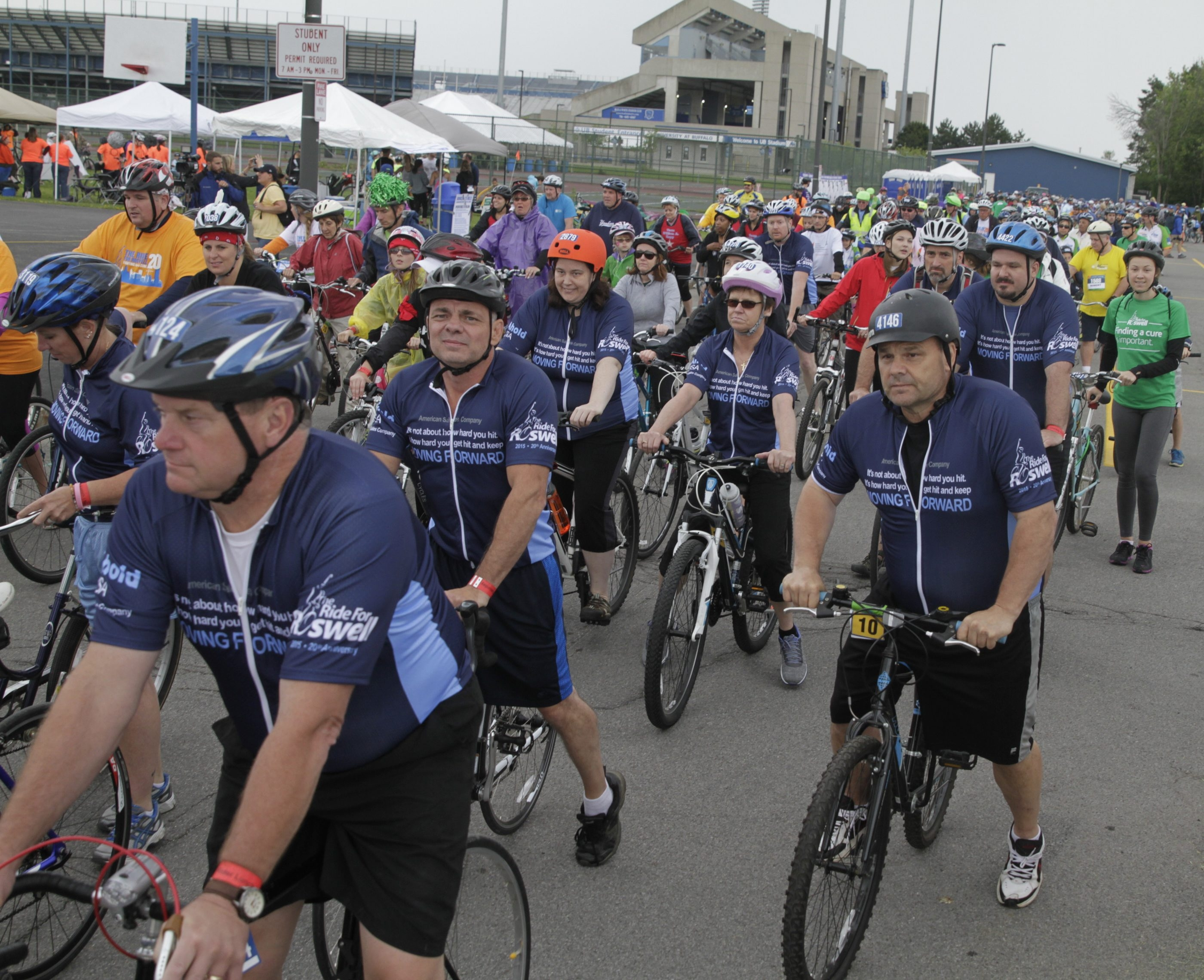 Participants queue up for the 10-mile portion of Ride for Roswell at UB's North Campus. About 8,200 participants and 2,000 volunteers raised more than $4.5 million to support cancer research and patient care programs at Roswell Park Cancer Institute.