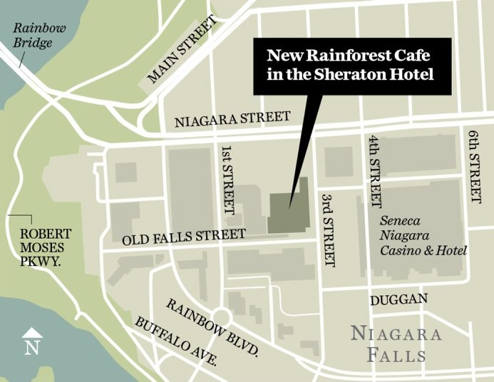 Map shows location of new Ranforest Cafe in Niagara Falls