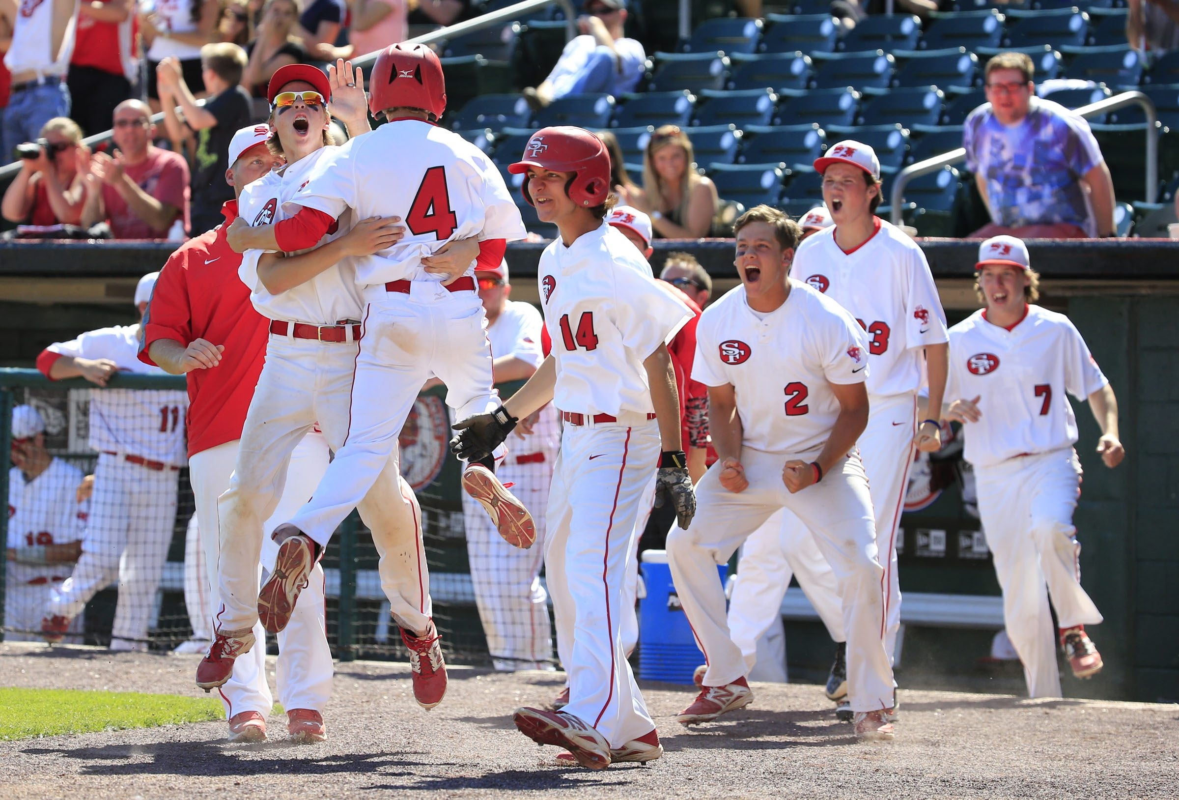 St. Francis players celebrate their walk-off victory in eight innings to clinch the Georgetown Cup playoff series title.