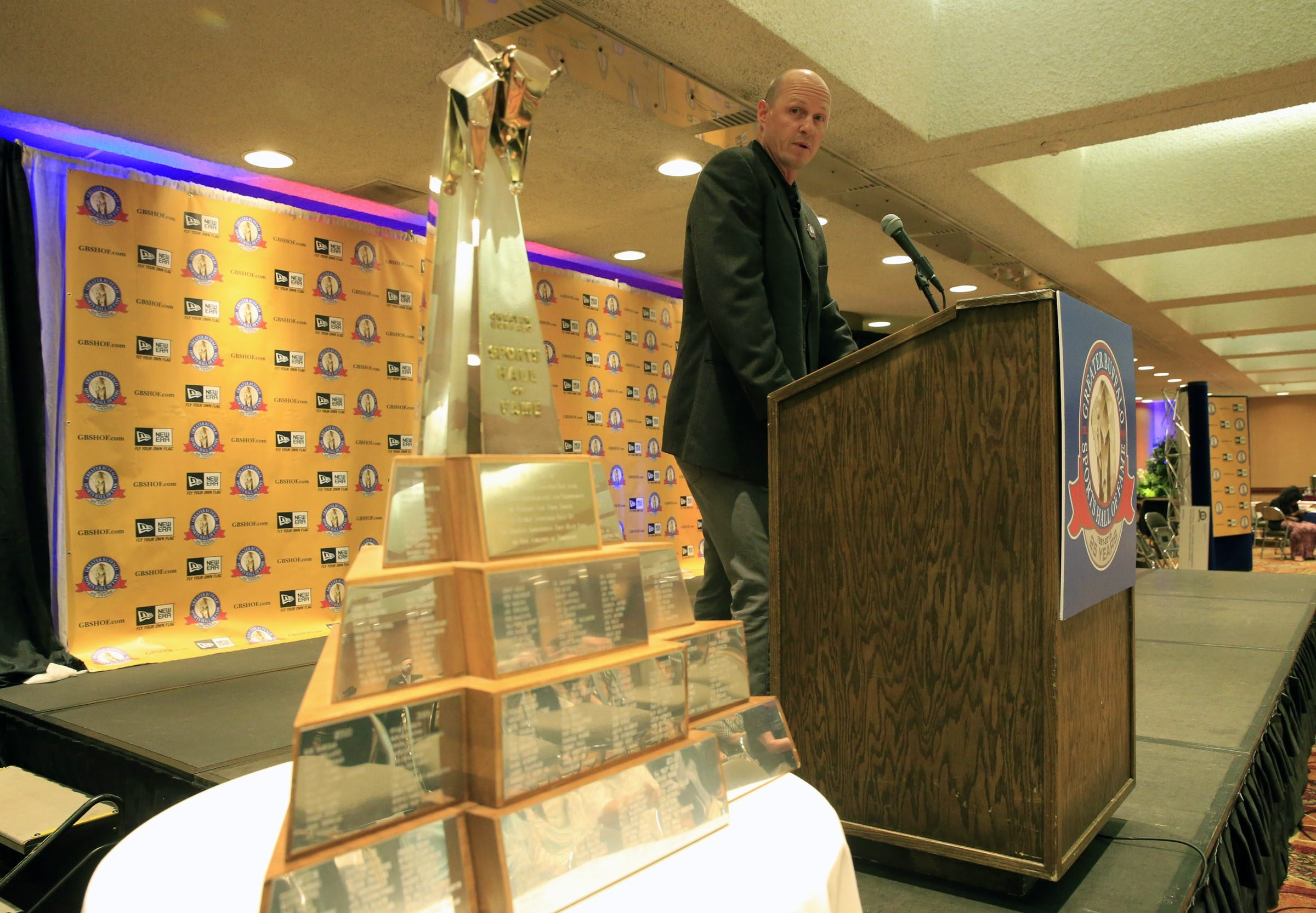 Aaron Miller speaks at a press conference announcing the 25th class of the Greater Buffalo Sports Hall of Fame Wednesday.