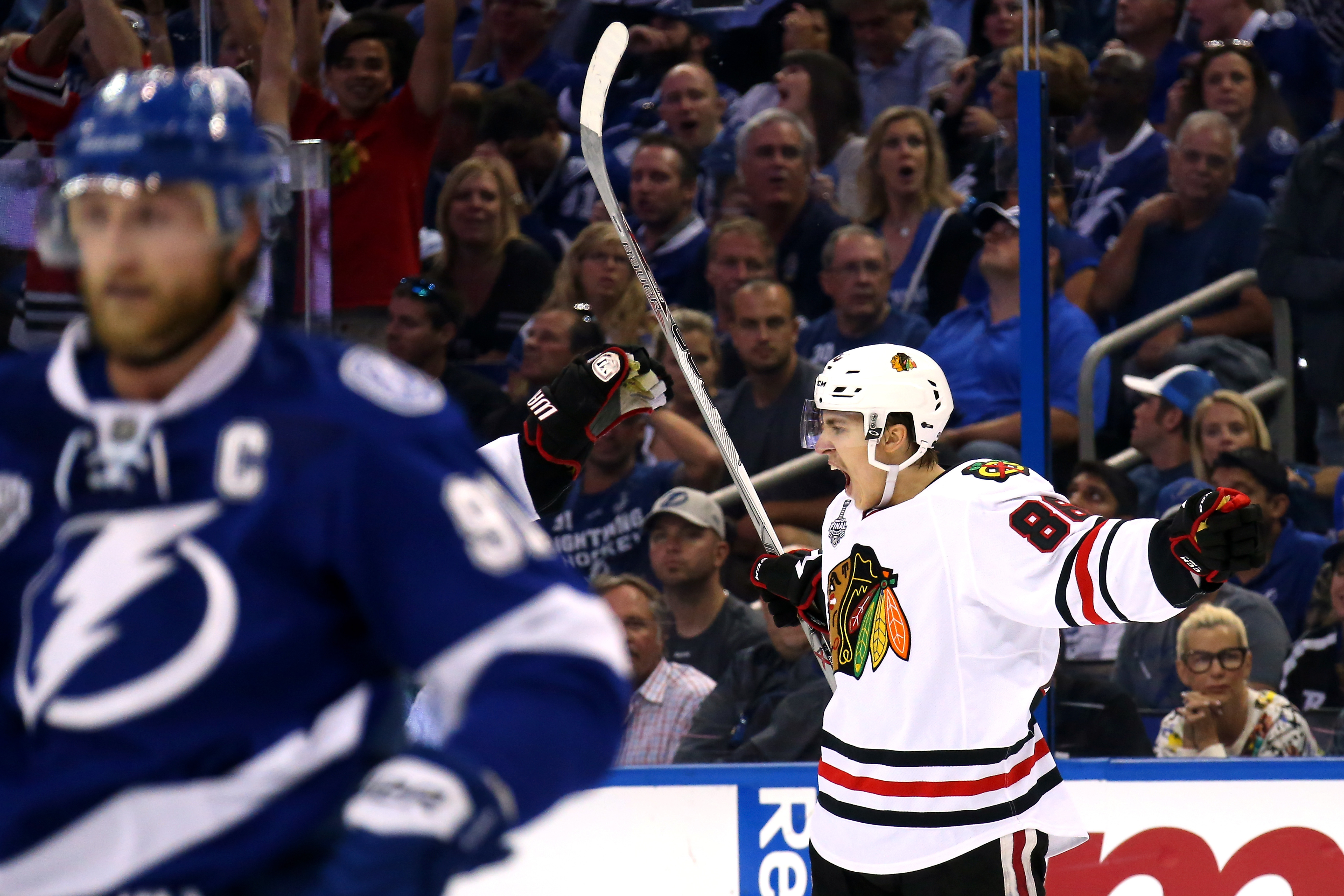TAMPA, FL - JUNE 03:  Teuvo Teravainen #86 of the Chicago Blackhawks celebrates his third period goal against the Tampa Bay Lightning during Game One of the 2015 NHL Stanley Cup Final at Amalie Arena on June 3, 2015 in Tampa, Florida.  (Photo by Bruce Bennett/Getty Images)