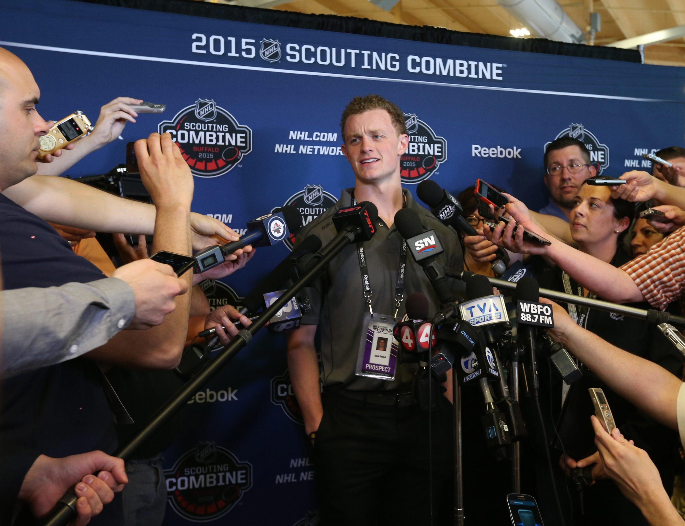 Jack Eichel, the likely pick for the Sabres in the NHL Draft, meets with the media during the Combine.