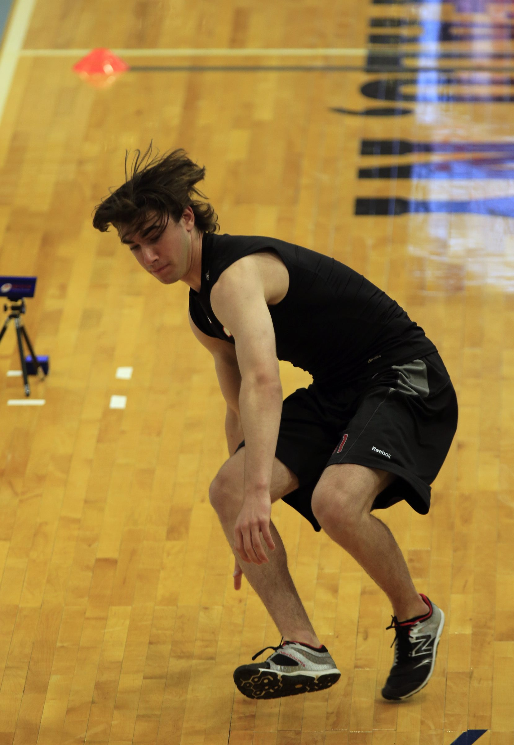 Kyle Capobianco is tested during combine drills at the NHL combine at the HarborCenter  on Saturday, June 6, 2015..(Harry Scull Jr./Buffalo News)
