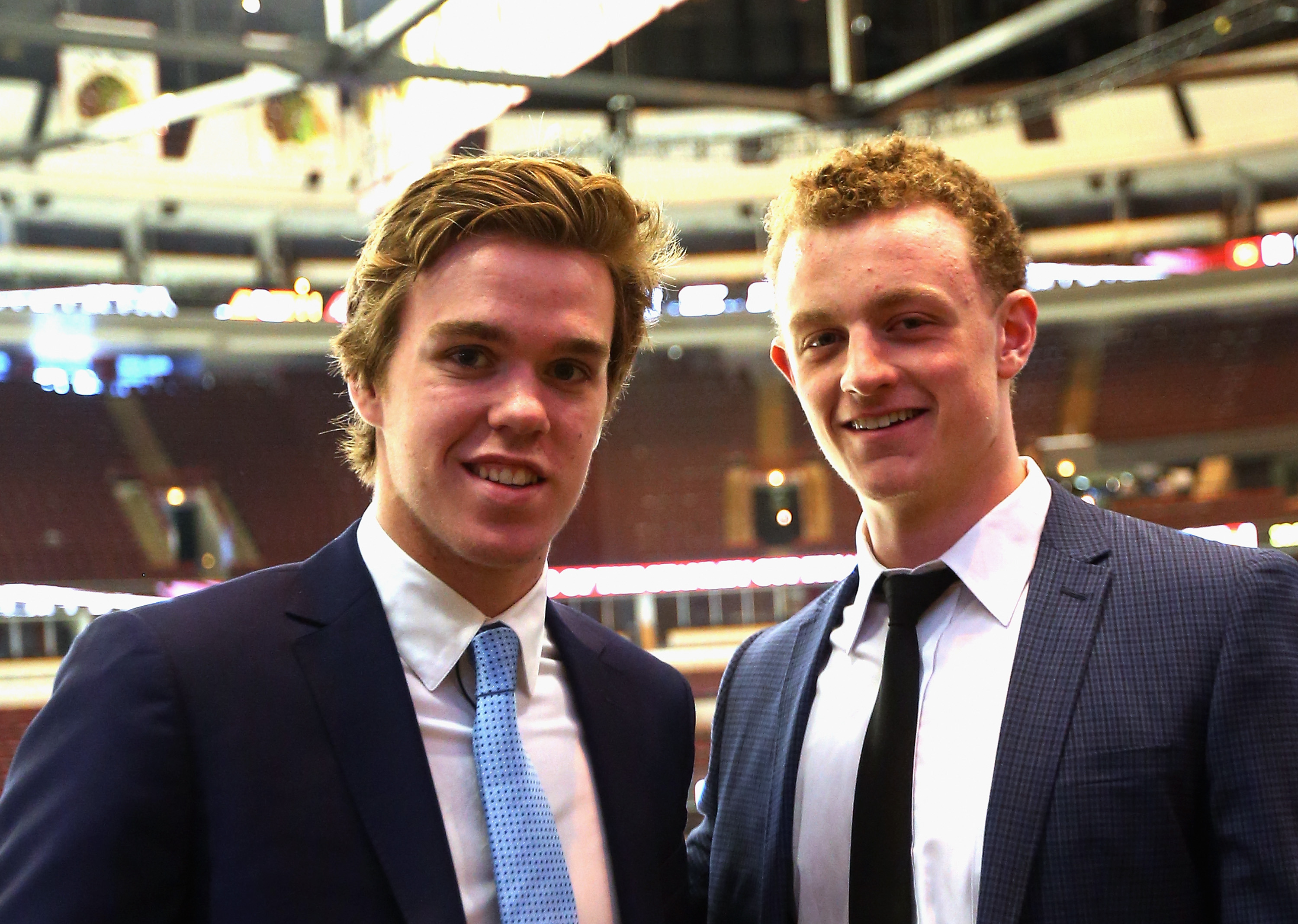 Connor McDavid, left, and Jack Eichel spent some time getting acquainted at their Stanley Cup tour in Chicago on Monday.
