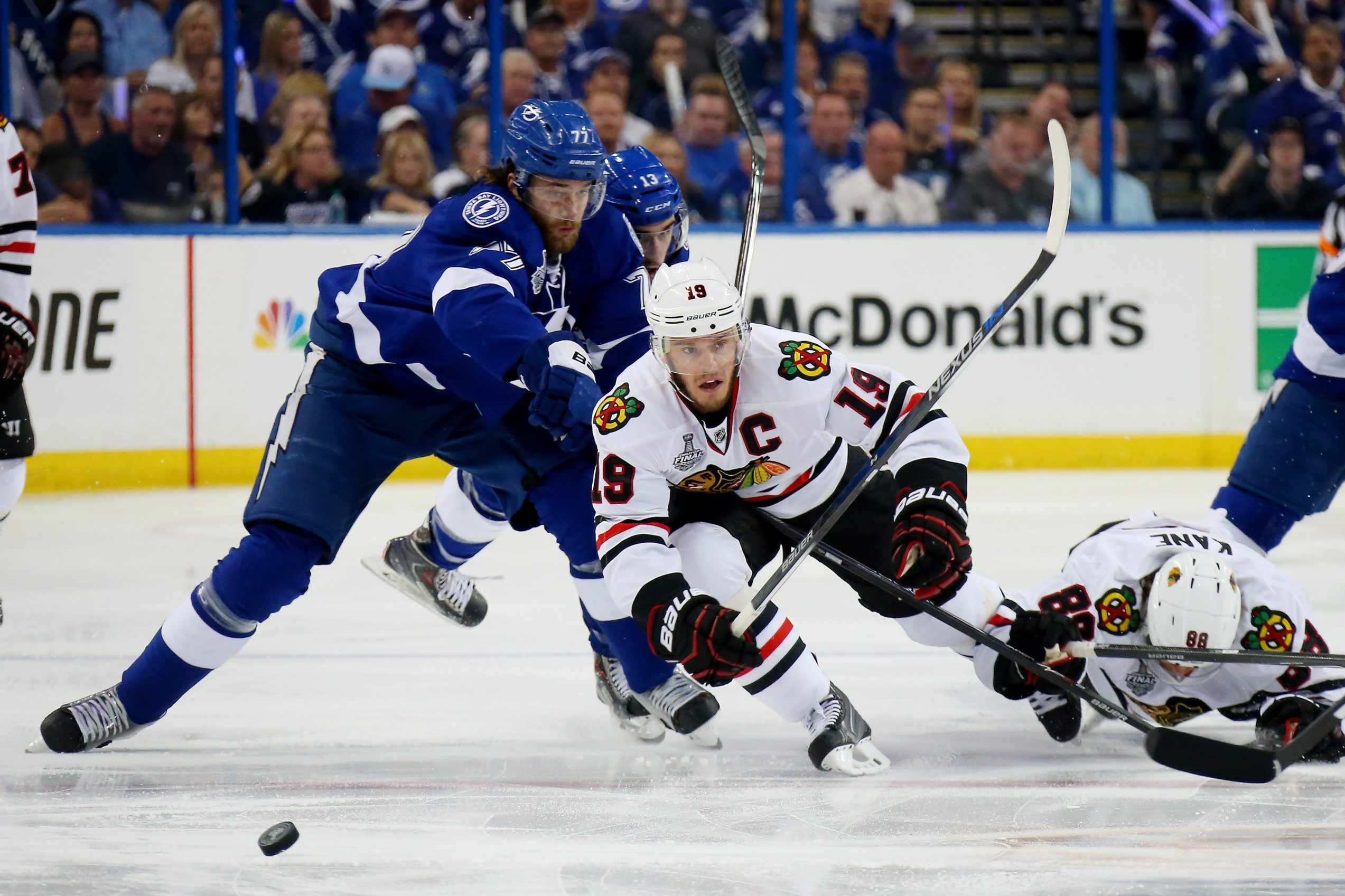 Victor Hedman of Tampa Bay (left) has been a key player as his team has won two of three in the Stanley Cup finals.