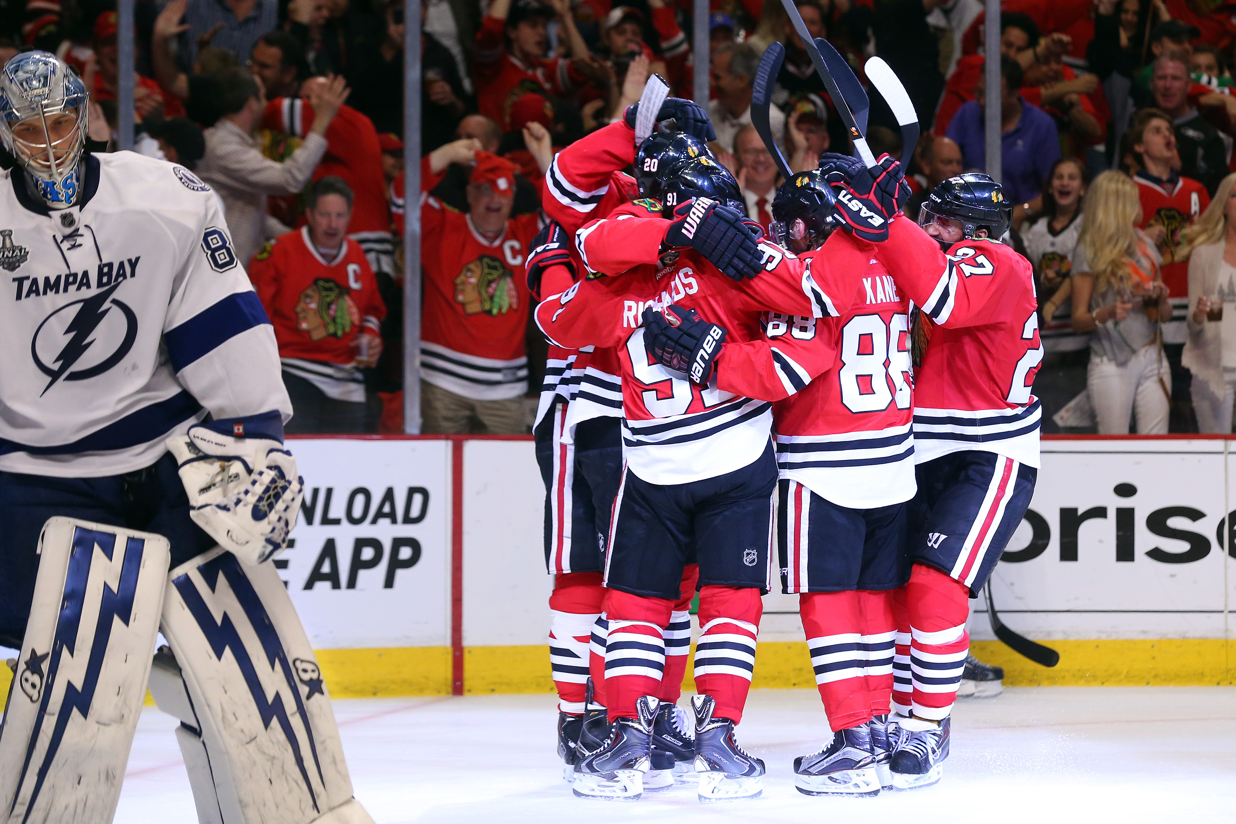 The Blackhawks celebrate after Brandon Saad scored what proved to be the game-winning goal during the third period of Game Four.