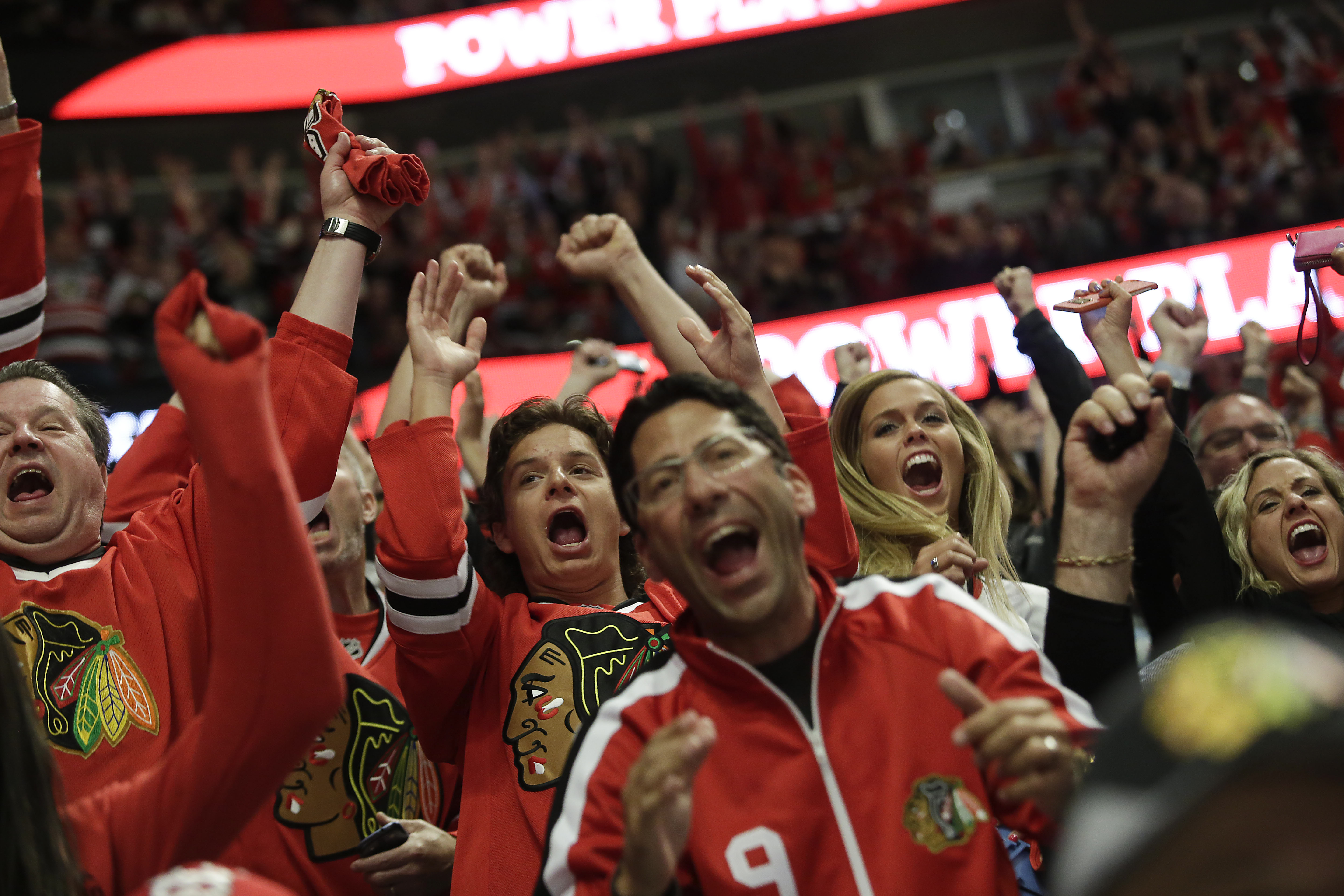 Chicago Blackhawks fans, reacting after the team scored a goal in the first period of Game Three against the Lightning, will be in rare form Monday night, when the Blackhawks have a chance to clinch the Stanley Cup.