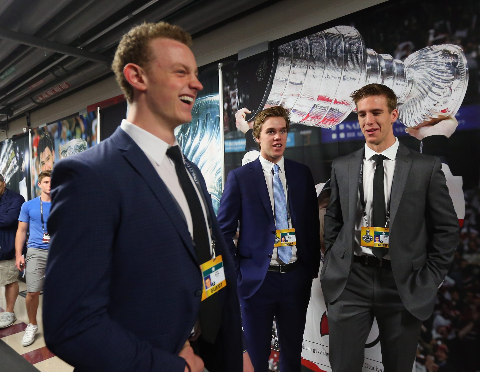 Jack Eichel, Connor McDavid and Noah Hanifin could become the first three selections in the NHL Draft. Hanifin, a Boston College defenseman, is the wild card. (Getty Images)