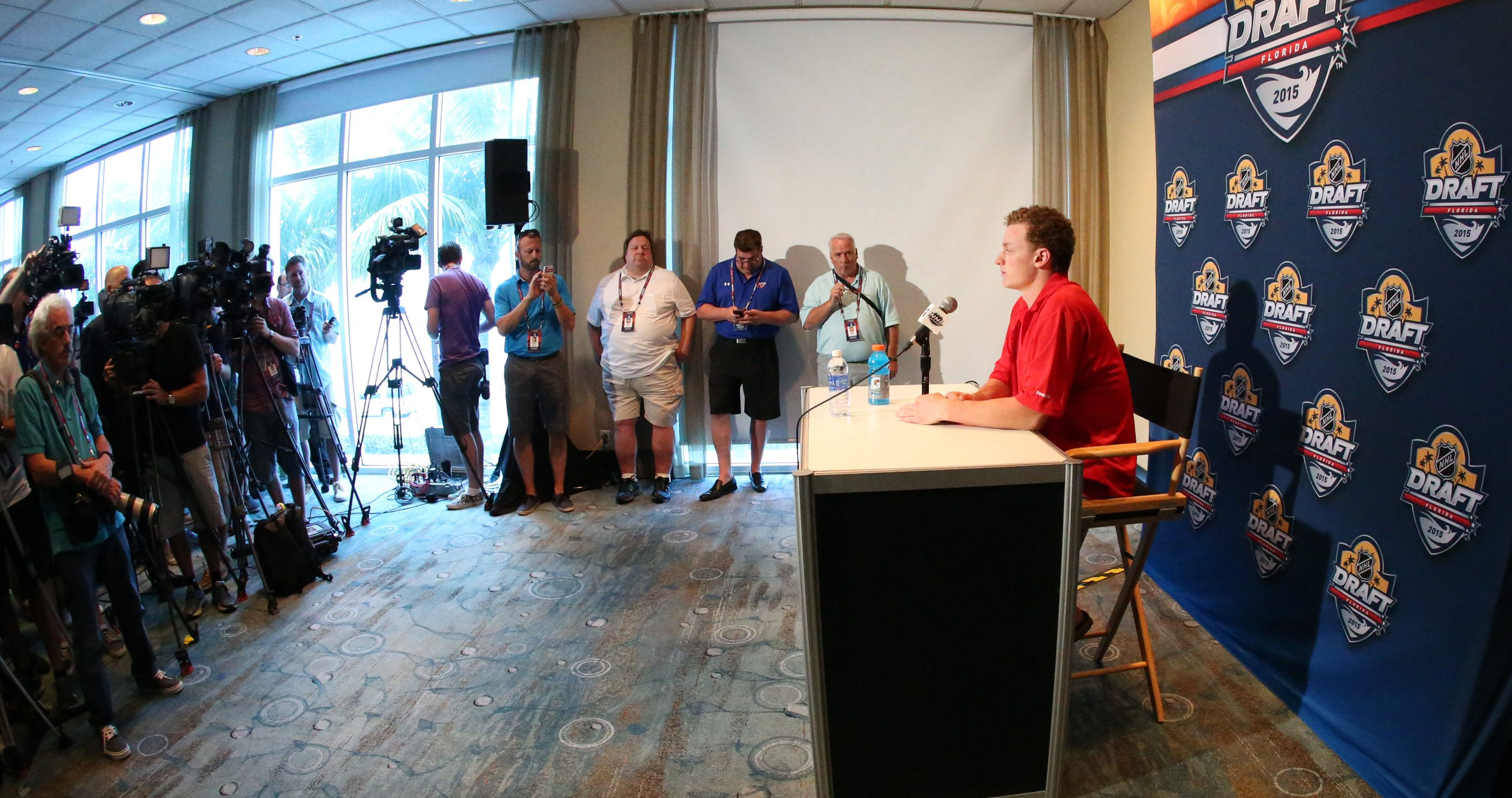 Jack Eichel talks to the press about him being drafted at Friday's NHL Draft at Westin Hotel in Fort Lauderdale,Fl on Thursday, June 25, 2015.  (James P. McCoy/ Buffalo News)