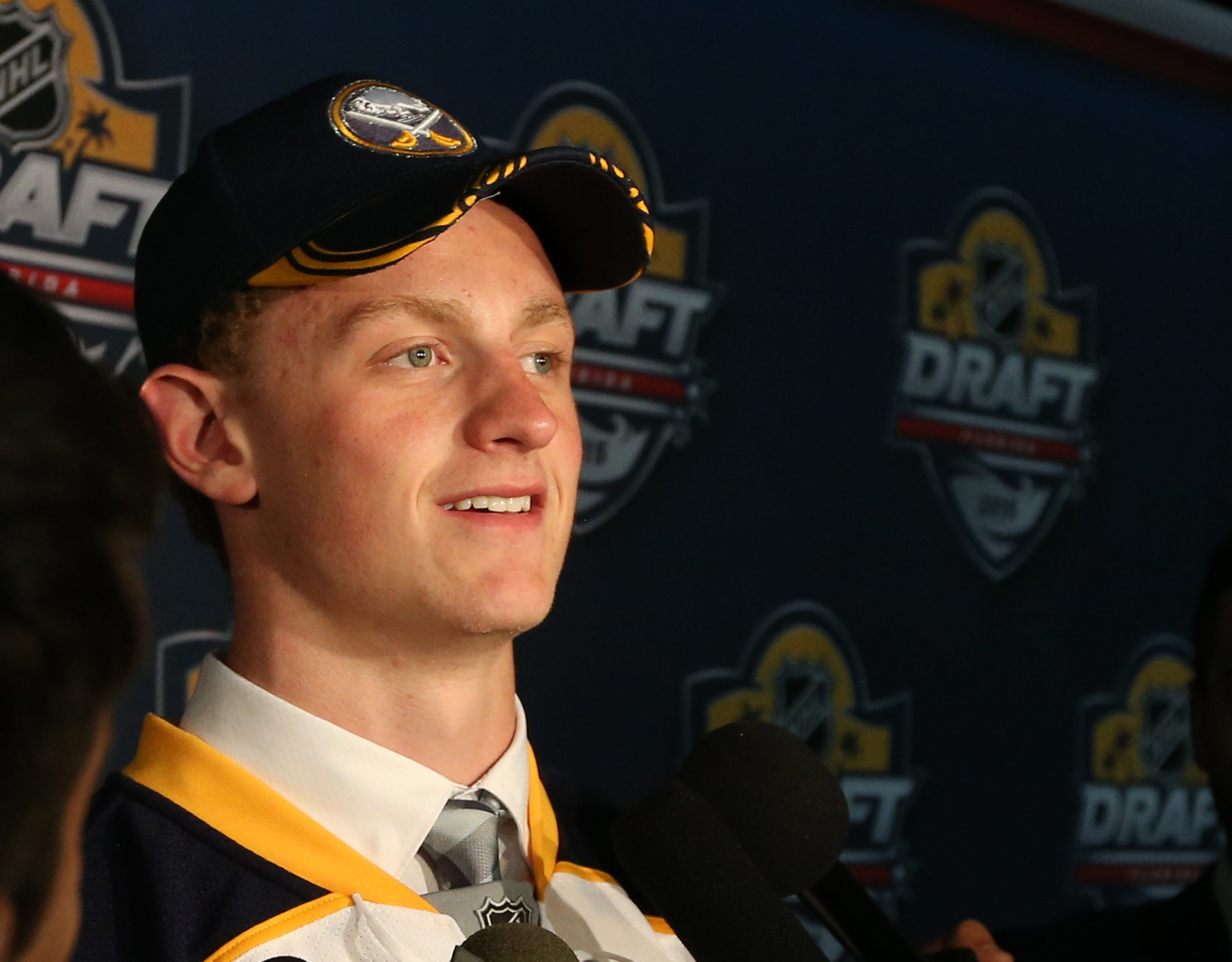 Jack Eichel makes the press run in the halls of the arena after being selected by the Buffalo sabers as the second overall pick of the NHL Draft tonight at the BB & T Center in Sunrise,Fl on Friday, June 26, 2015.  (James P. McCoy/ Buffalo News)
