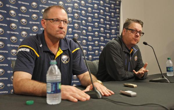 Dan Bylsma and Tim Murray speak to reporters today in First Niagara Center (Harry Scull Jr./Buffalo News).