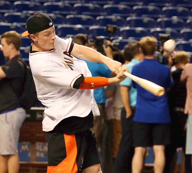 Jack Eichel takes his cuts Wednesday in Marlins Park (James P. McCoy/Buffalo News).