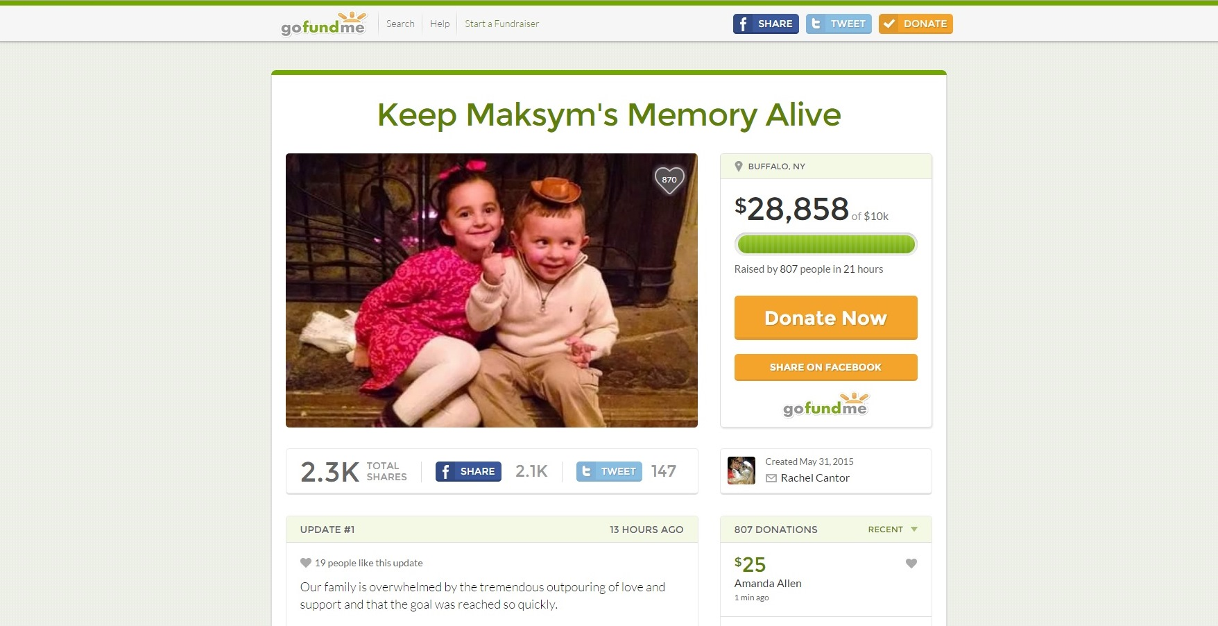 A screen grab of the GoFundMe campaign taken just before 1:30 p.m.