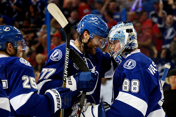 Victor Hedman gives it up to backup goalie Andrei Vasilevskiy as the Lightning celebrate their Game Two win (Getty Images).