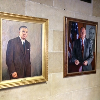 Mayoral portraits from years past in City Hall. Pictured here are former Mayors Steven Pankow, left,  and  James D.  Griffin (Susan Schulman)