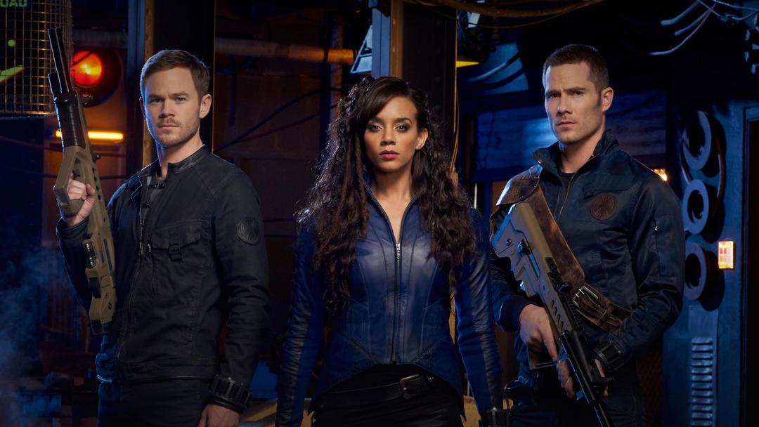 The Syfy channel's newest original series, 'Killjoys,' stars Aaron Ashmore, left, Hannah John-Kamen and Luke Macfarlane.