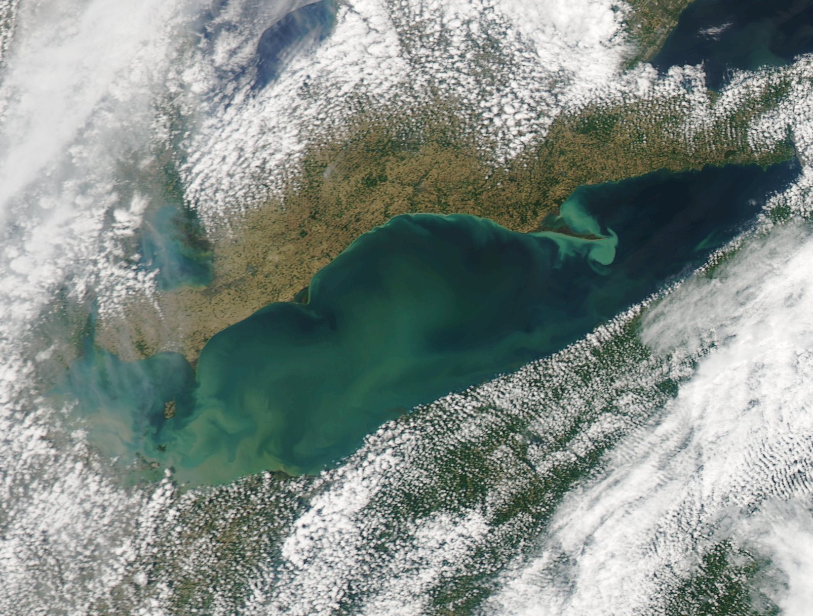 Lake Erie's warmth last November fueled a pair of snowstorms. It's chilly water Wednesday, however, kept Buffalo Niagara safe from lightning, and a tornado. (NASA image)