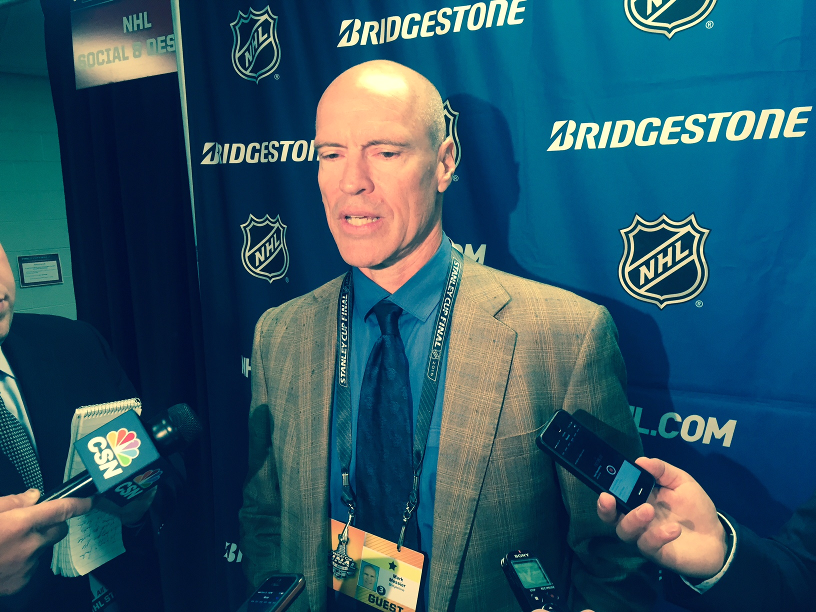 Mark Messier, speaking today in United Center on Connor McDavid and Jack Eichel (Mike Harrington/Buffalo News)