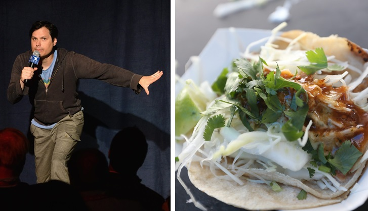 Michael Ian Black, left, engages in Twitter banter with Lloyd Taco trucks, whose chicken tacos are pictured. (Getty Images; Sharon Cantillon/Buffalo News file photo)