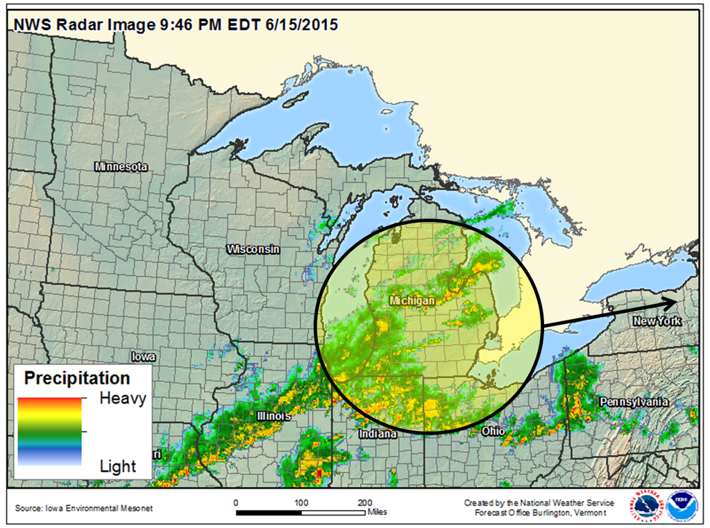 The National Weather Service projects heavy rain will make its way east from Michigan and arrive in Western New York early Tuesday morning. (National Weather Service)