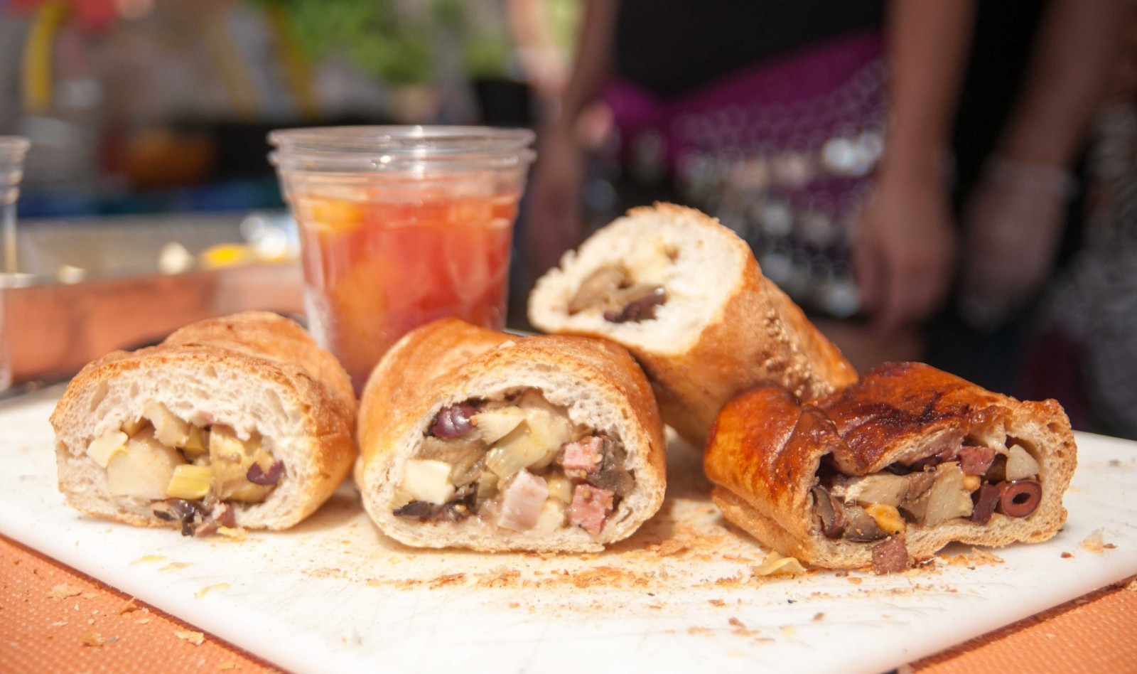 Stuffed bread and Gypsy Juice from Gypsy Parlor during the 2014 Taste of Diversity. (Matt Weinberg/Special to The News)