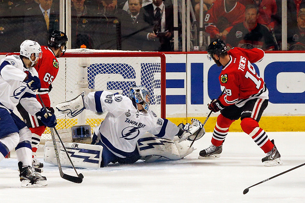 Andrei Vasilevskiy, who could start again in Game Five, stops Jonathan Toews in Game Four (Getty Images).