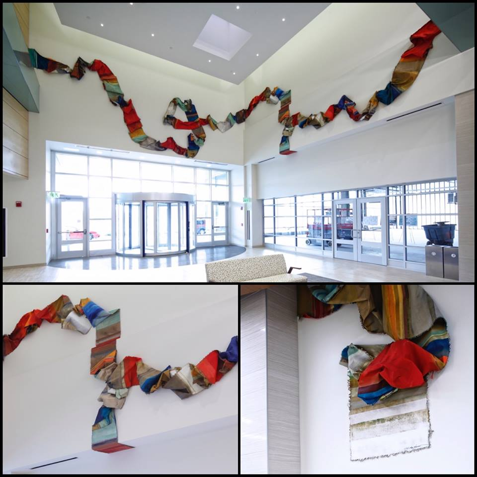 A new public art piece by Terri Katz Kasimov hangs in the lobby of the newly constructed Conventus building on the Buffalo Niagara Medical Campus.