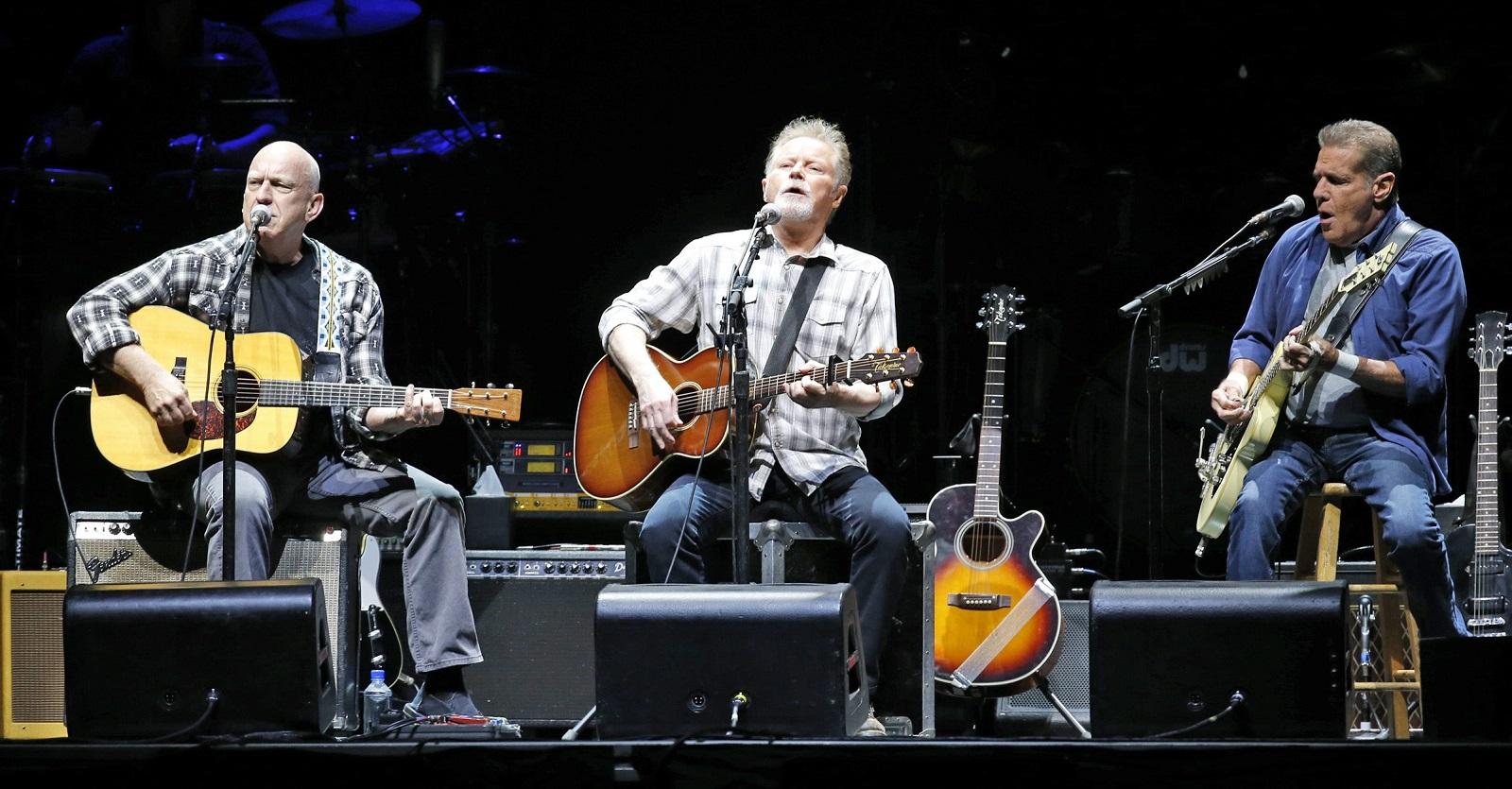 Eagles, from left, Bernie Leadon, Don Henley, Glenn Frey perform at the First Niagara Center.  (Harry Scull Jr./Buffalo News)