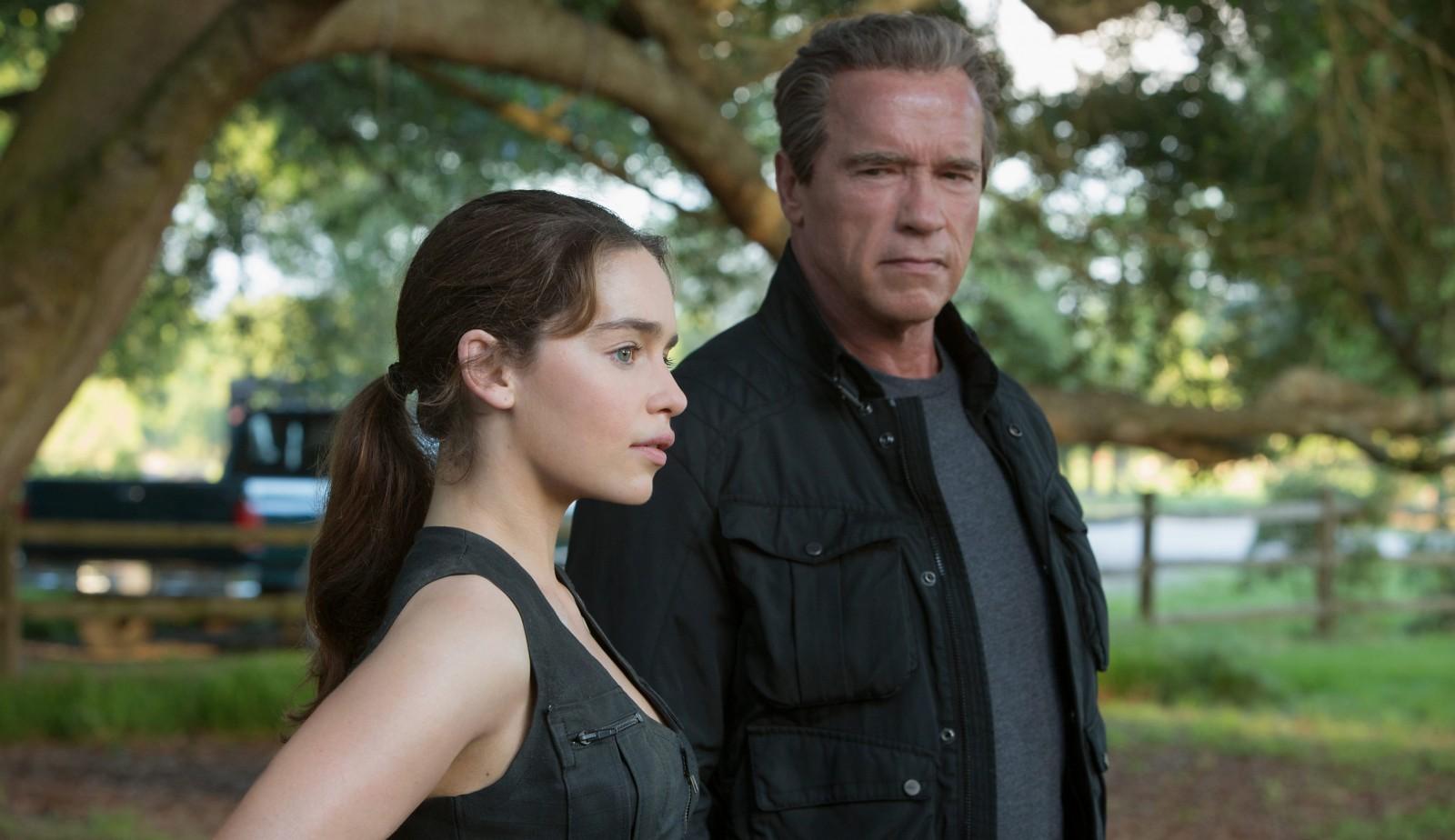 Emilia Clarke plays Sarah Connor and Arnold Schwarzenegger returns as the Terminator in 'Terminator: Genisys.'