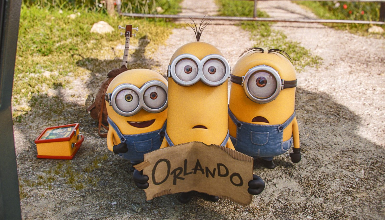 From left to right, Bob, Kevin and Stuart are minions looking to serve the most evil villain they can find. The trio is on its way to a villain convention in Florida in this scene.