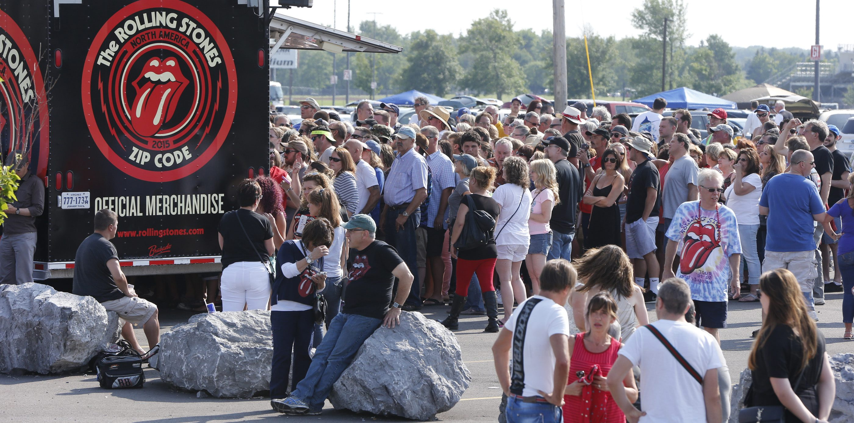 Fans line up for Rolling Stones merchandise at Ralph Wilson Stadium on  on Saturday, July 11, 2015.  (Harry Scull Jr / Buffalo News)